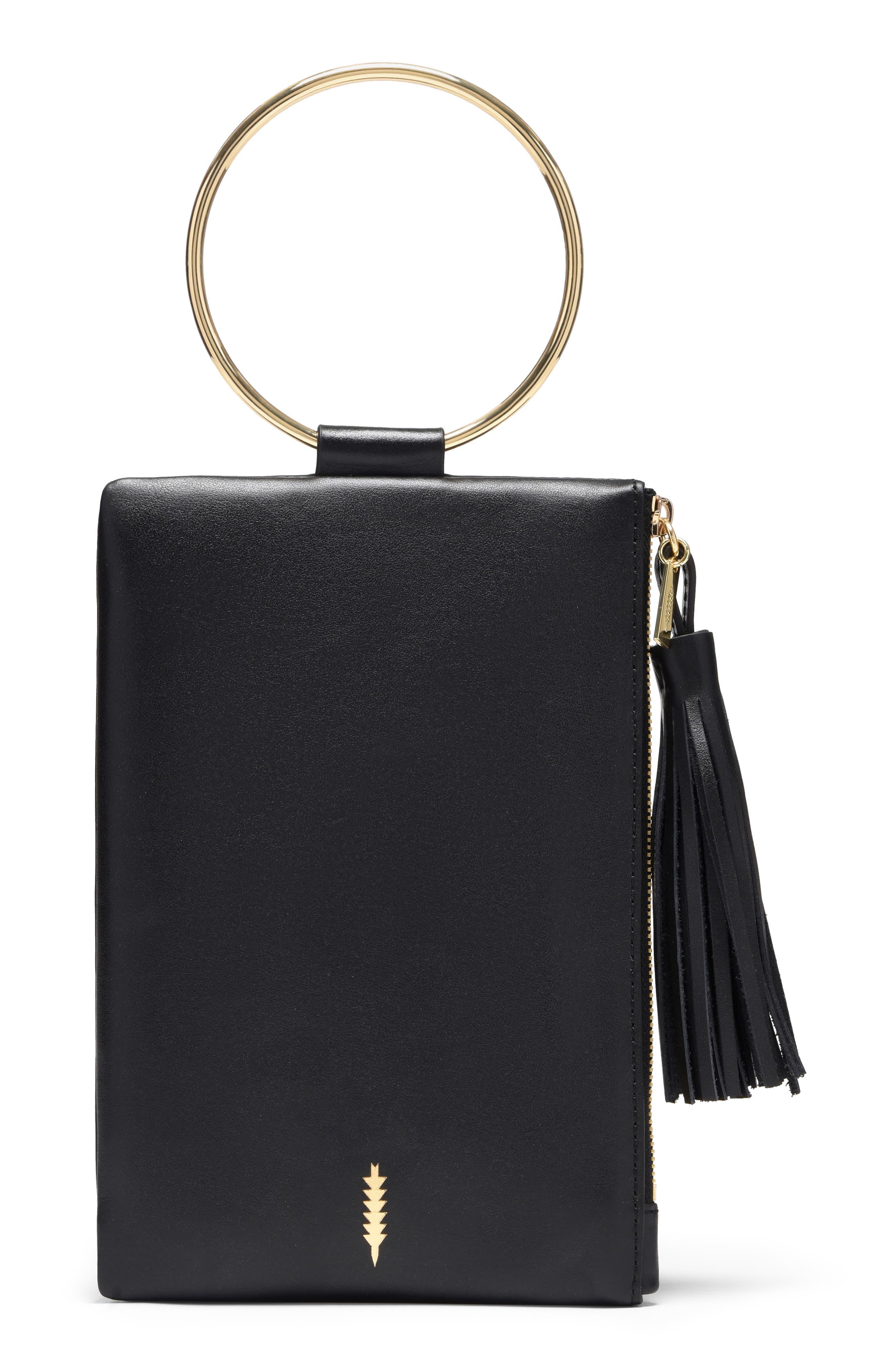 Nolita Ring Handle Leather Clutch,                             Main thumbnail 1, color,                             BLACK GOLD