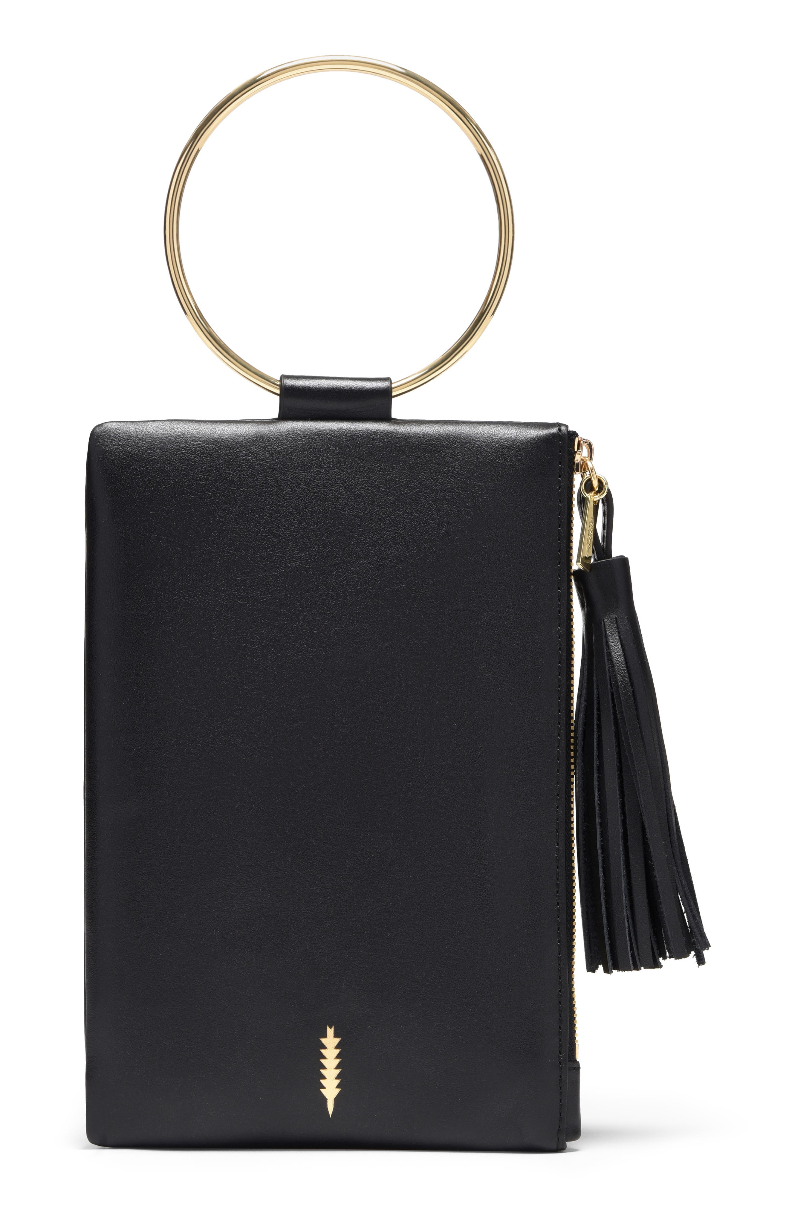 Nolita Ring Handle Leather Clutch,                         Main,                         color, BLACK GOLD