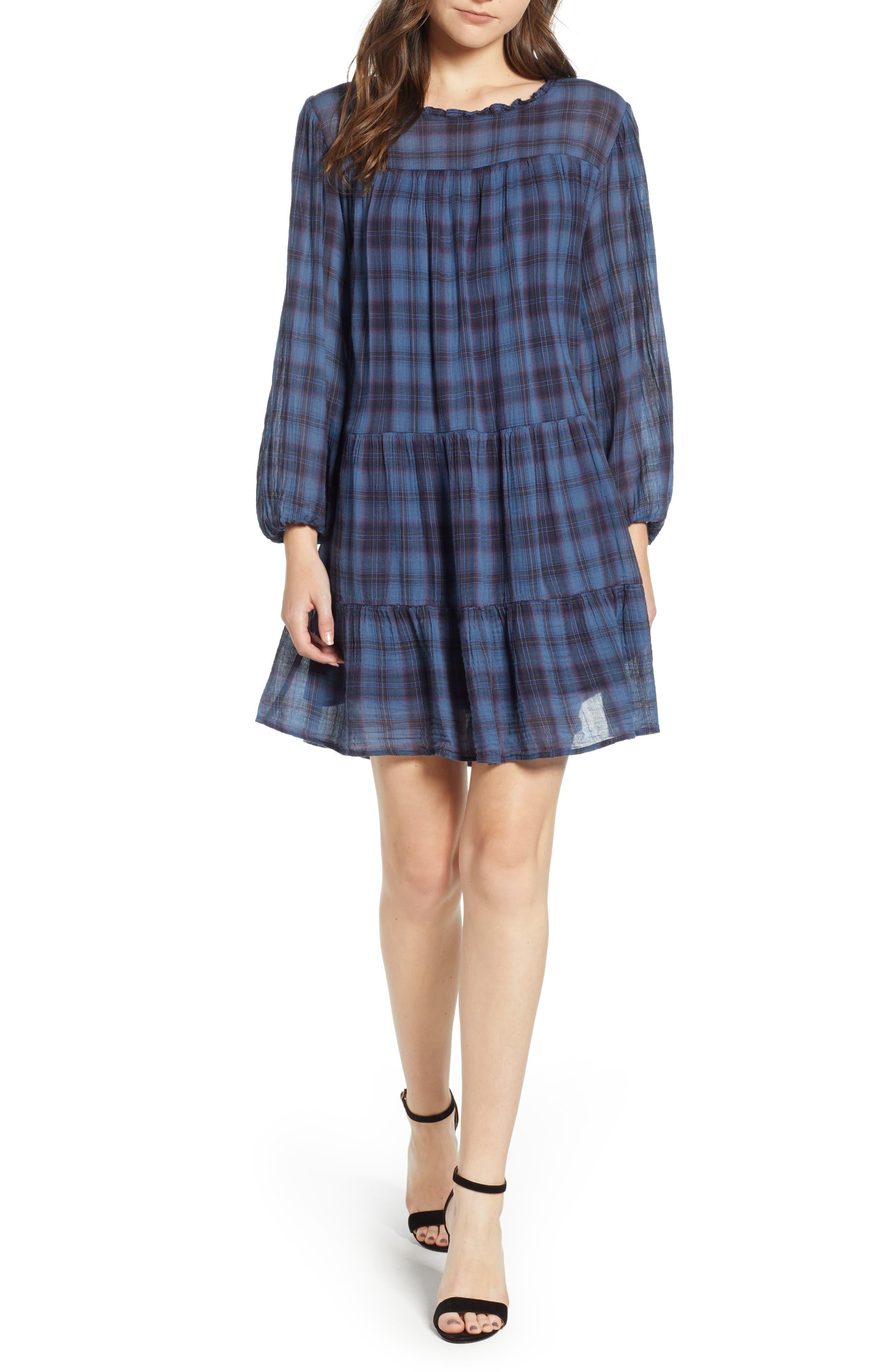Soft Tiered Plaid Cotton Shift Dress,                             Main thumbnail 1, color,                             437