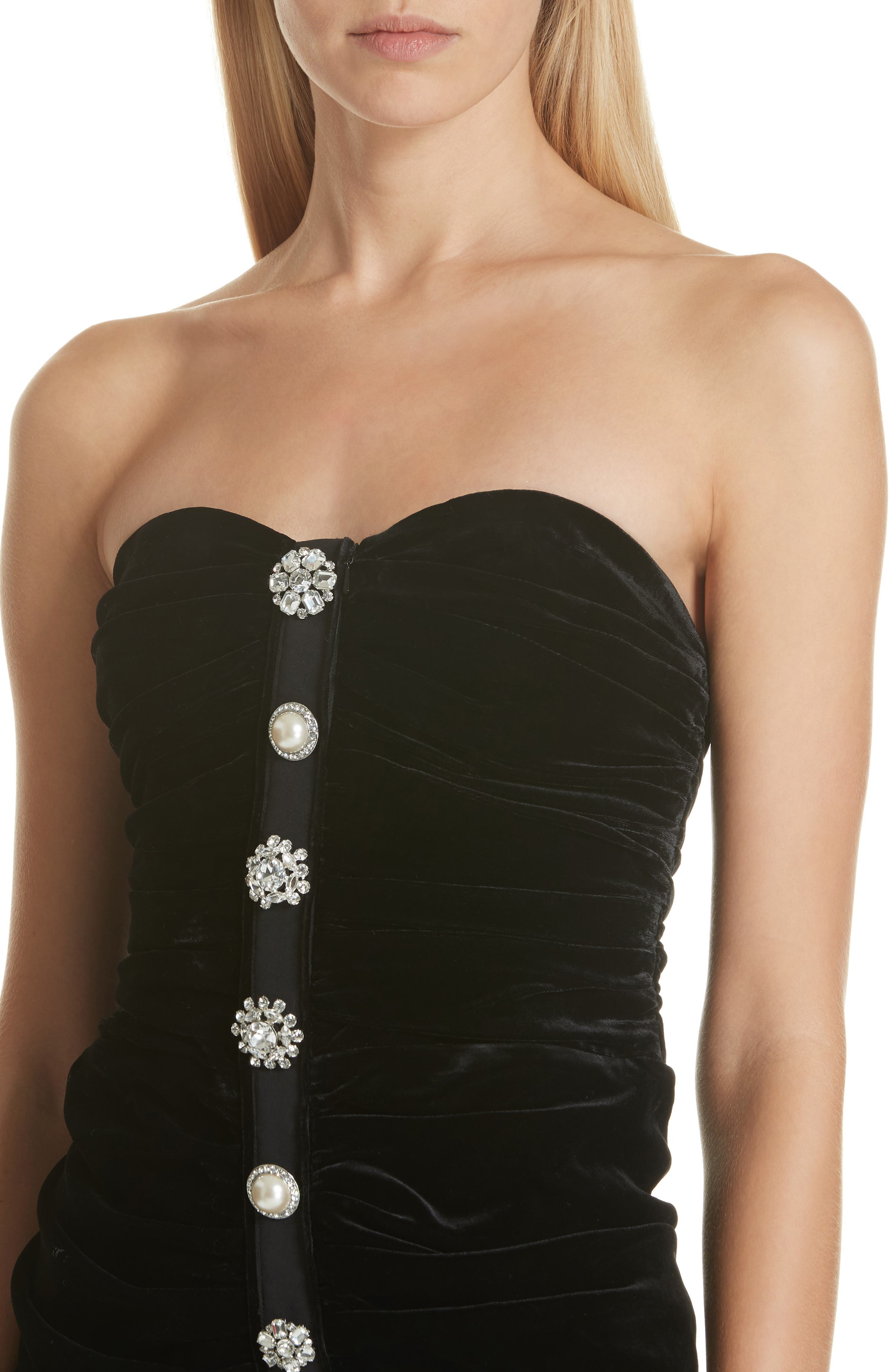 Palo Strapless Velvet Dress,                             Alternate thumbnail 4, color,                             BLACK