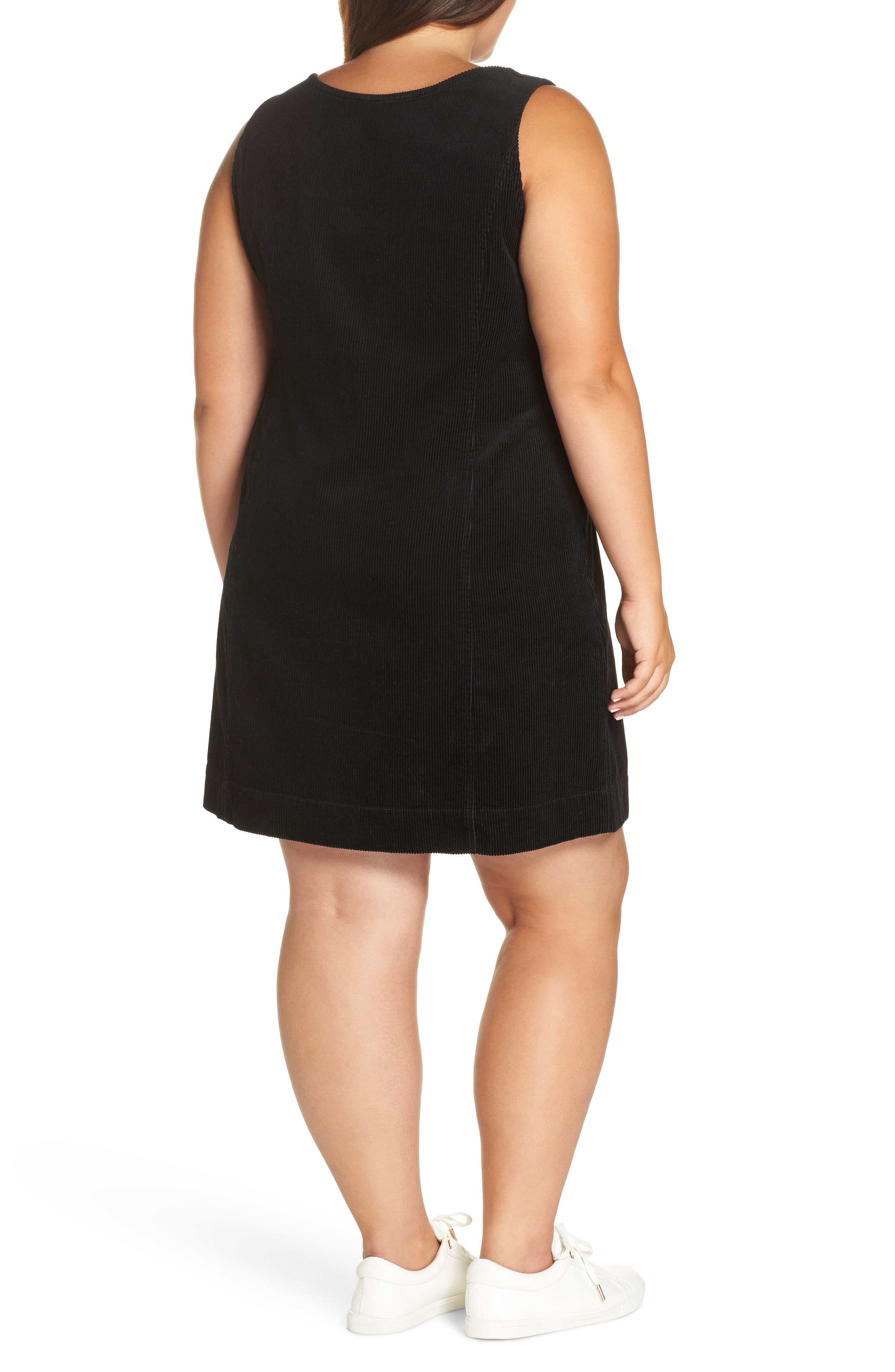 Corduroy Pinafore Dress,                             Alternate thumbnail 2, color,                             BLACK