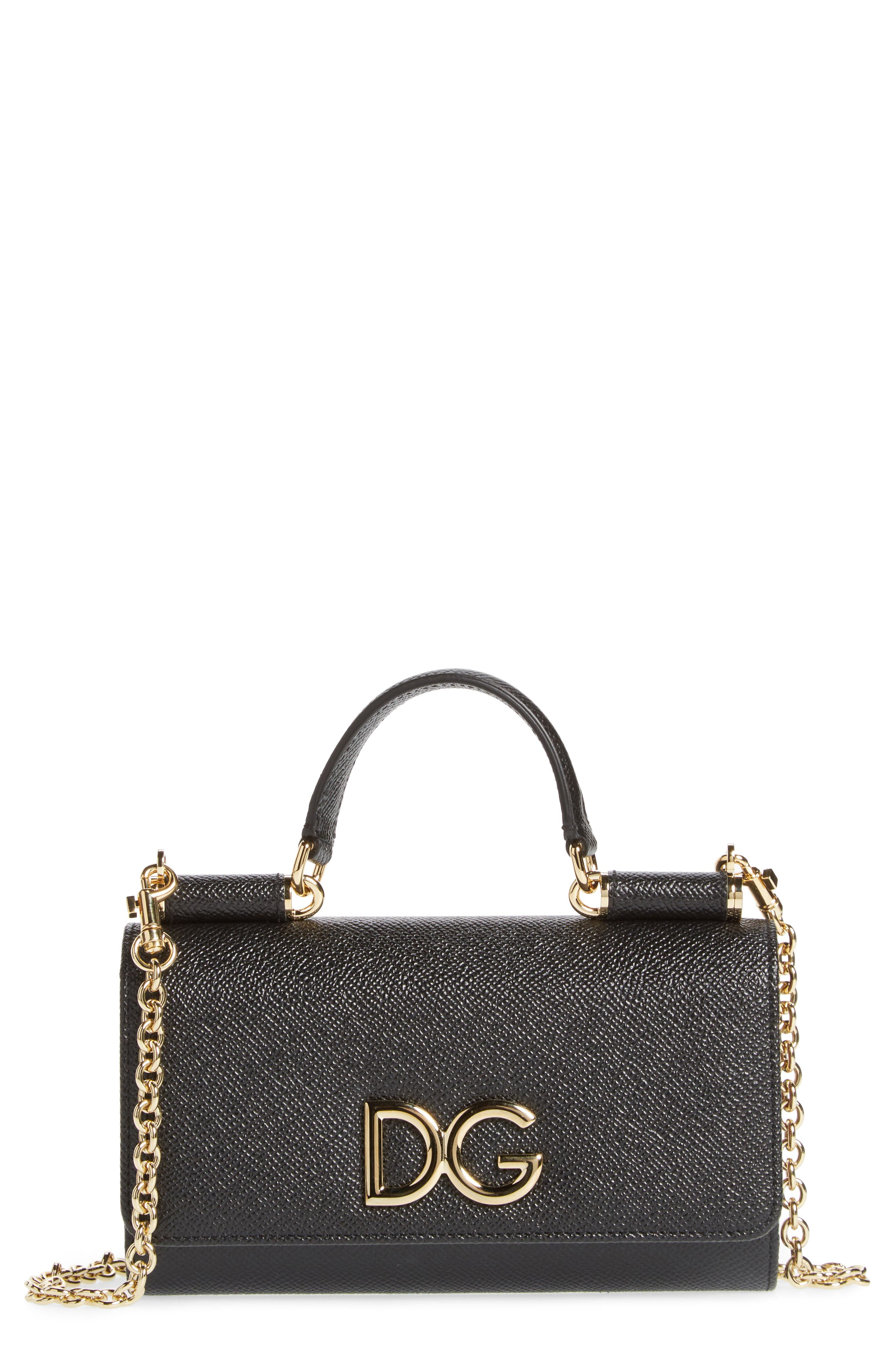 Dolce&Gabanna Logo Phone Wallet on a Chain,                         Main,                         color, NERO