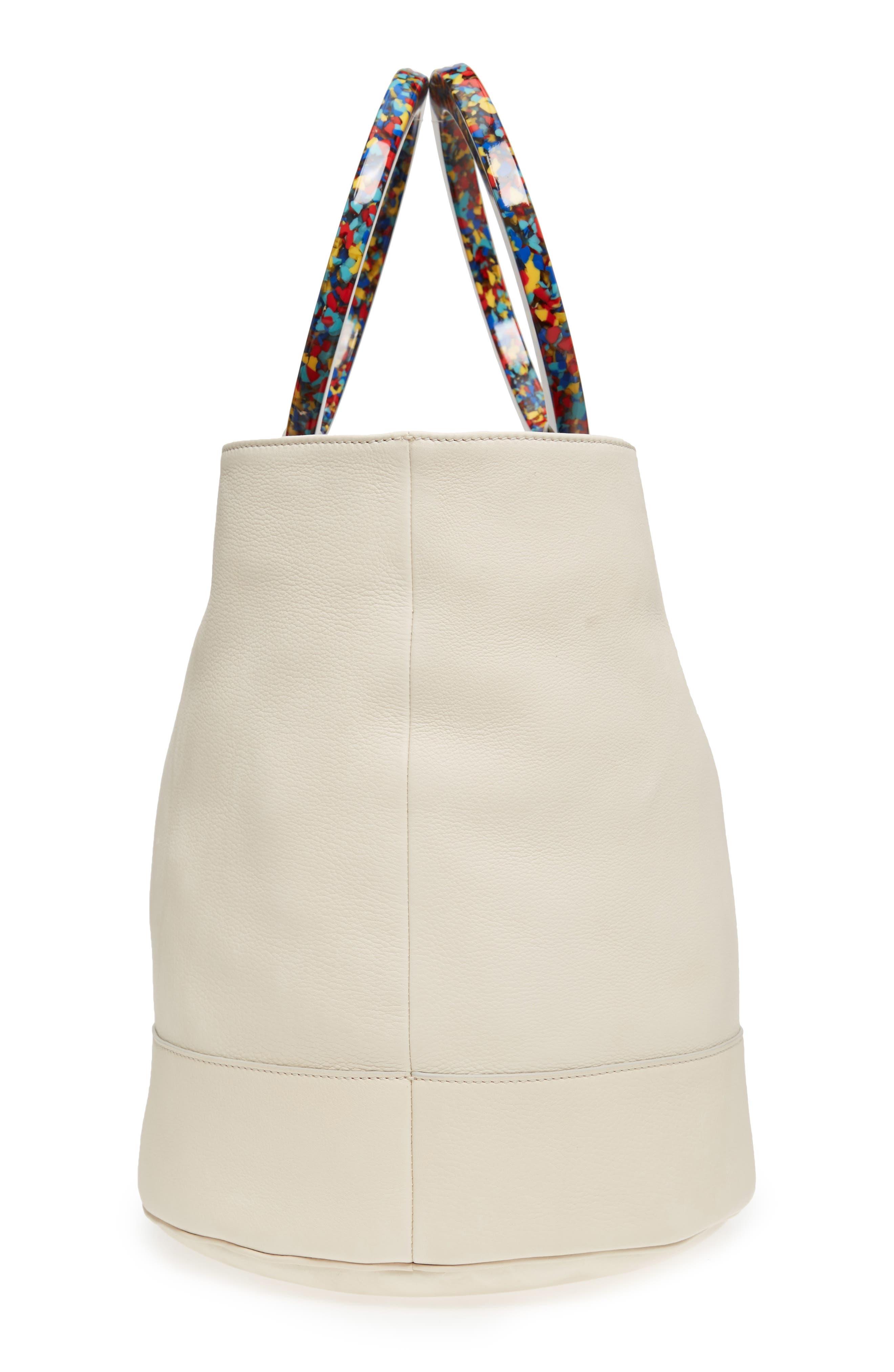 Confetti Handle Bonsai Leather Bucket Bag,                             Alternate thumbnail 5, color,                             900