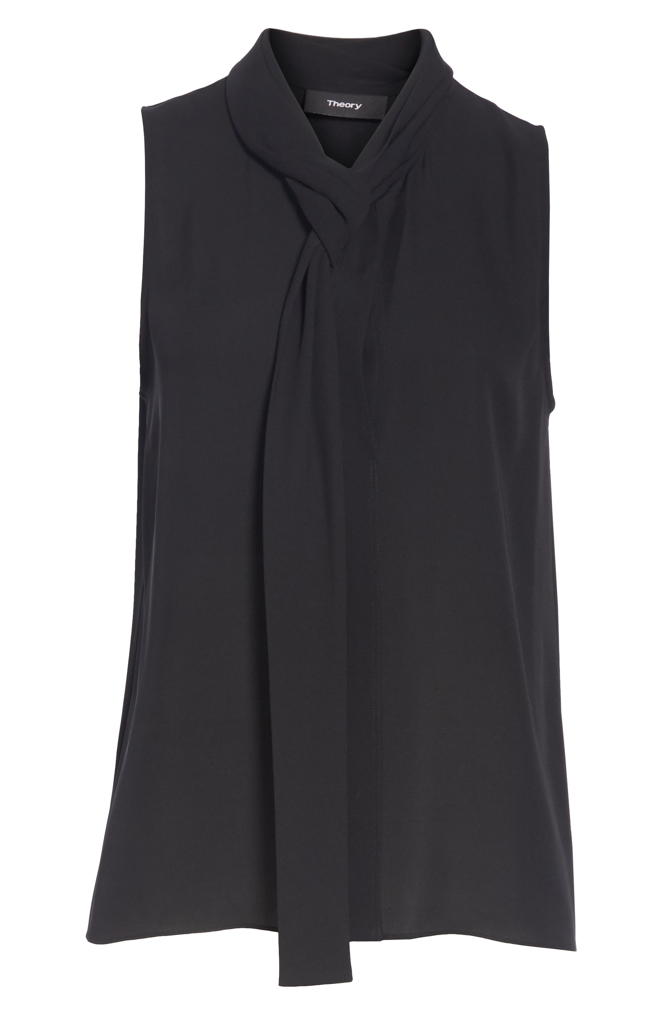 Draped Tie Neck Silk Georgette Shell,                             Alternate thumbnail 6, color,                             BLACK