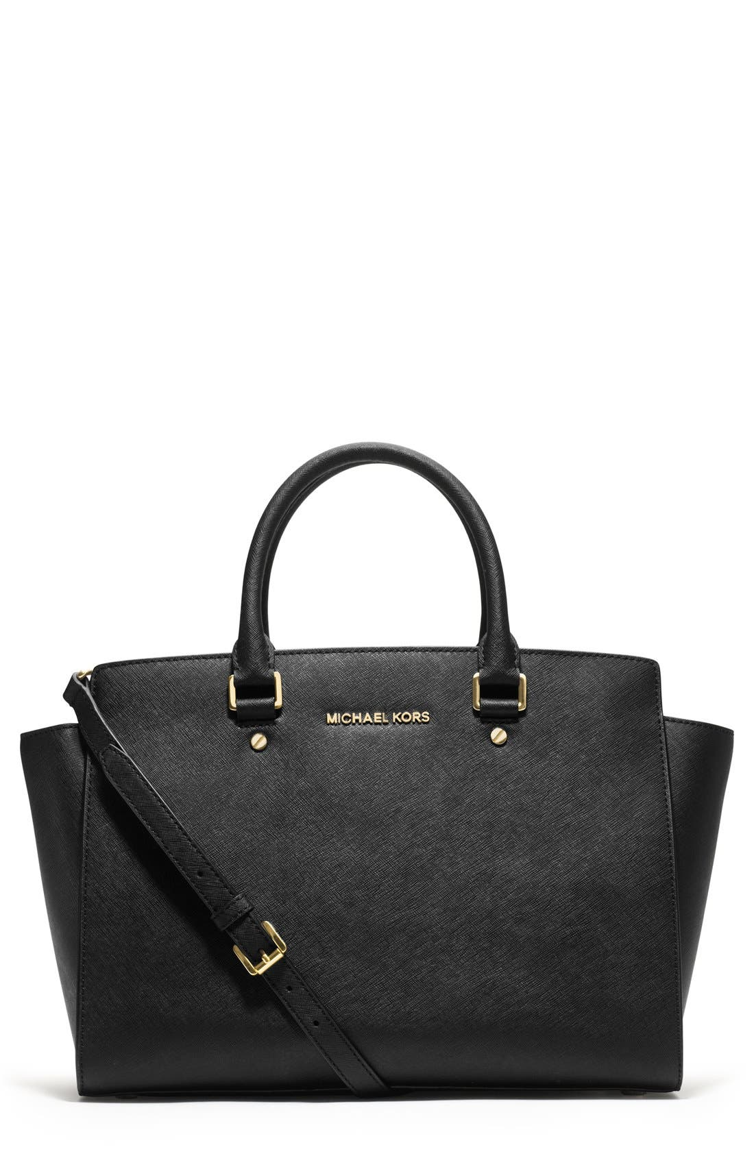 'Large Selma' Zip-Top Satchel,                         Main,                         color, 001