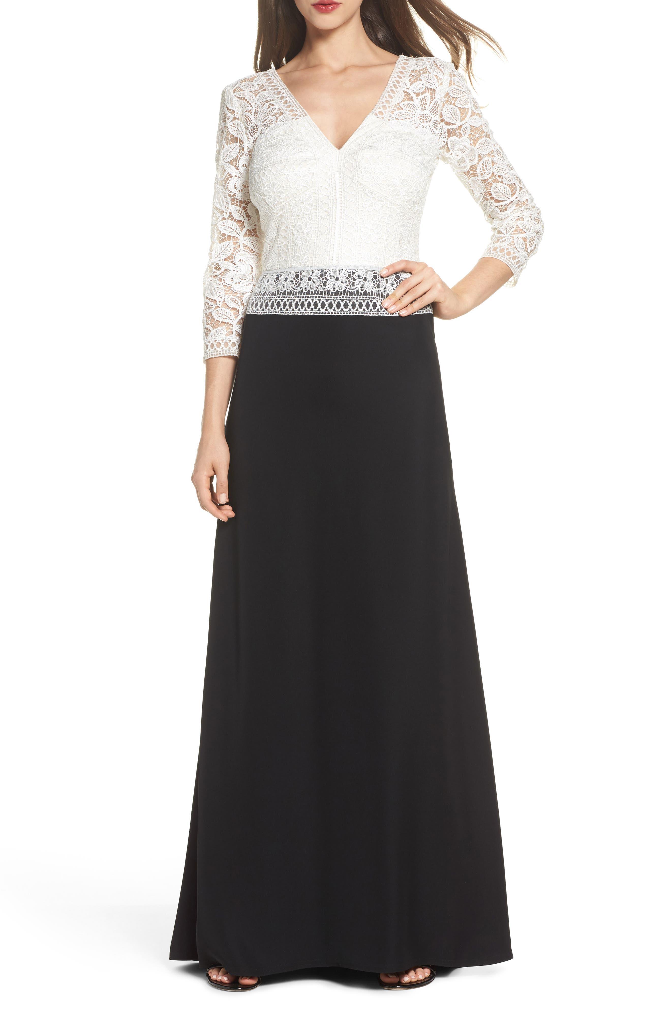 Lace & Crepe A-Line Gown,                         Main,                         color, 002