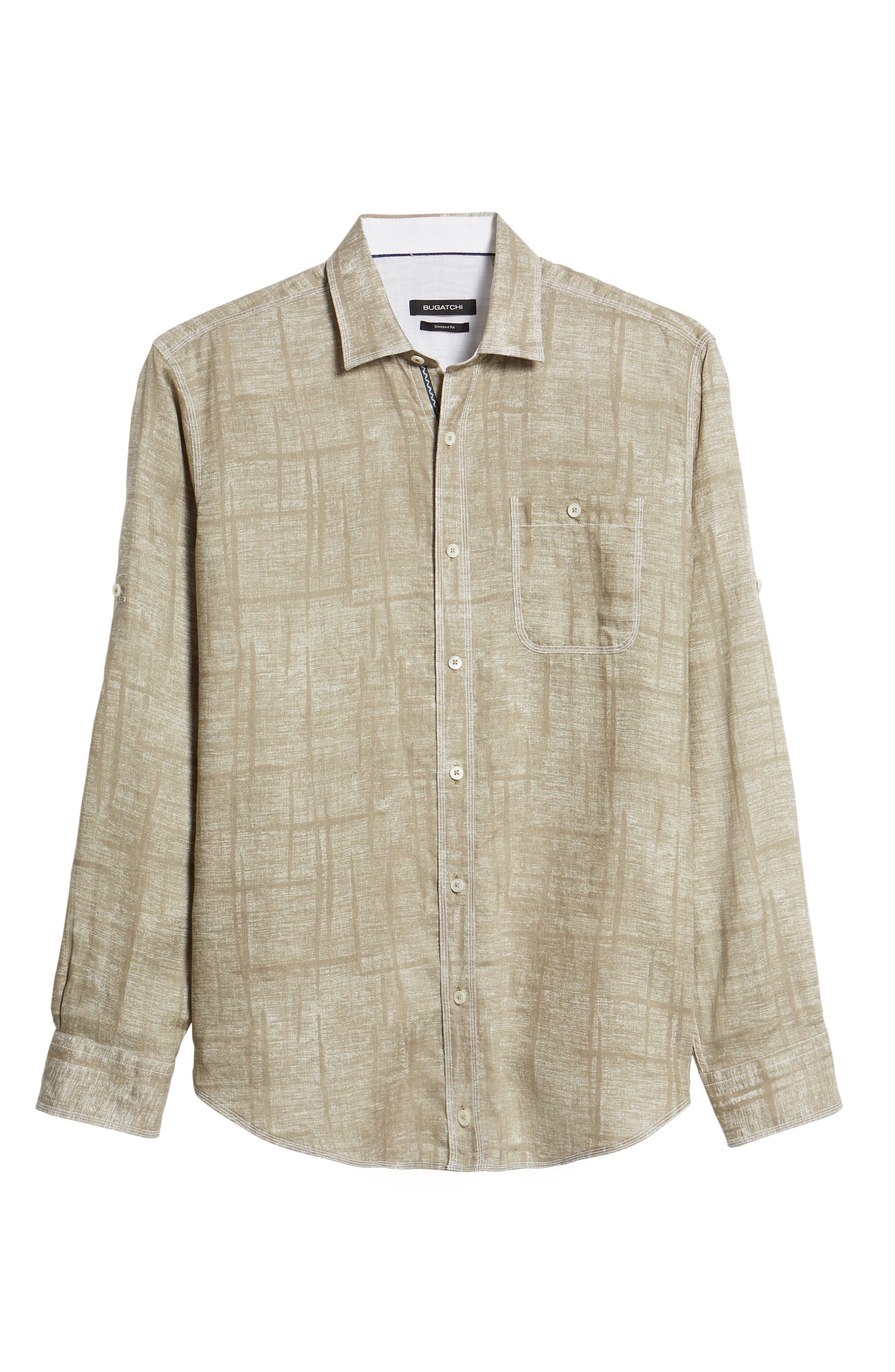 Shaped Fit Linen Sport Shirt,                             Alternate thumbnail 6, color,                             SAND