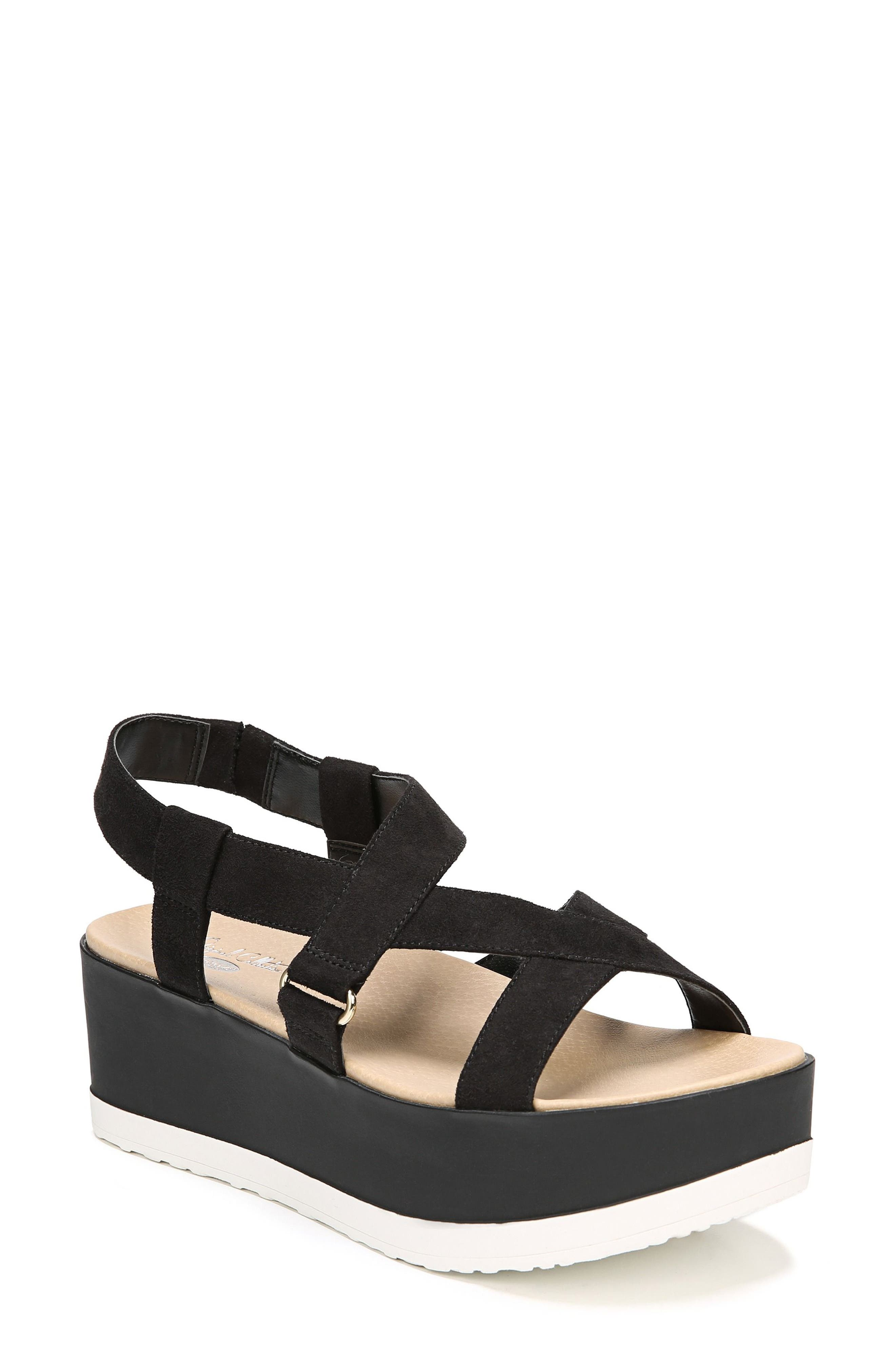 Companion Platform Sandal,                             Main thumbnail 1, color,                             BLACK FABRIC