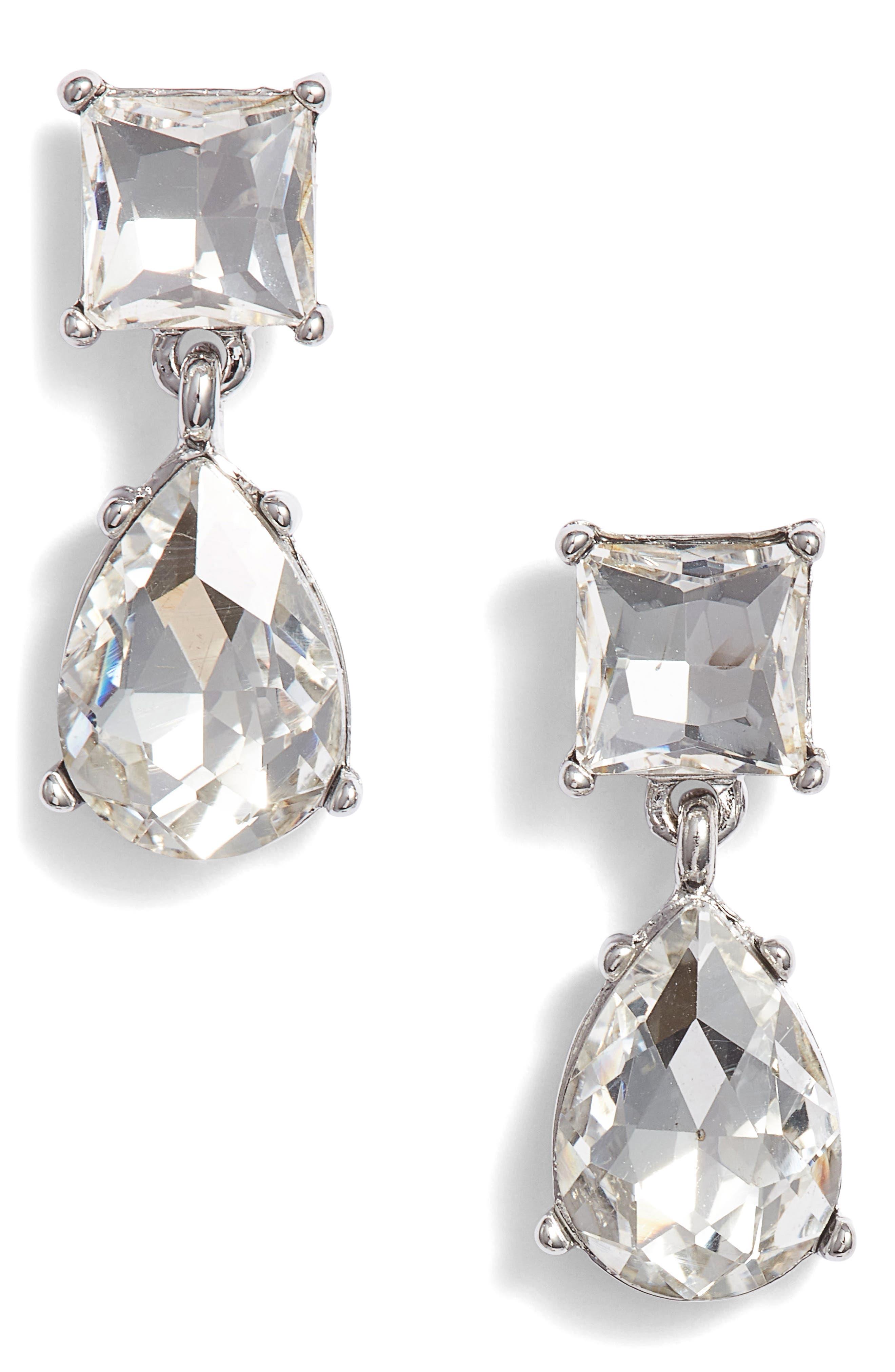 Princess Double Drop Earrings,                             Main thumbnail 1, color,                             CLEAR- RHODIUM
