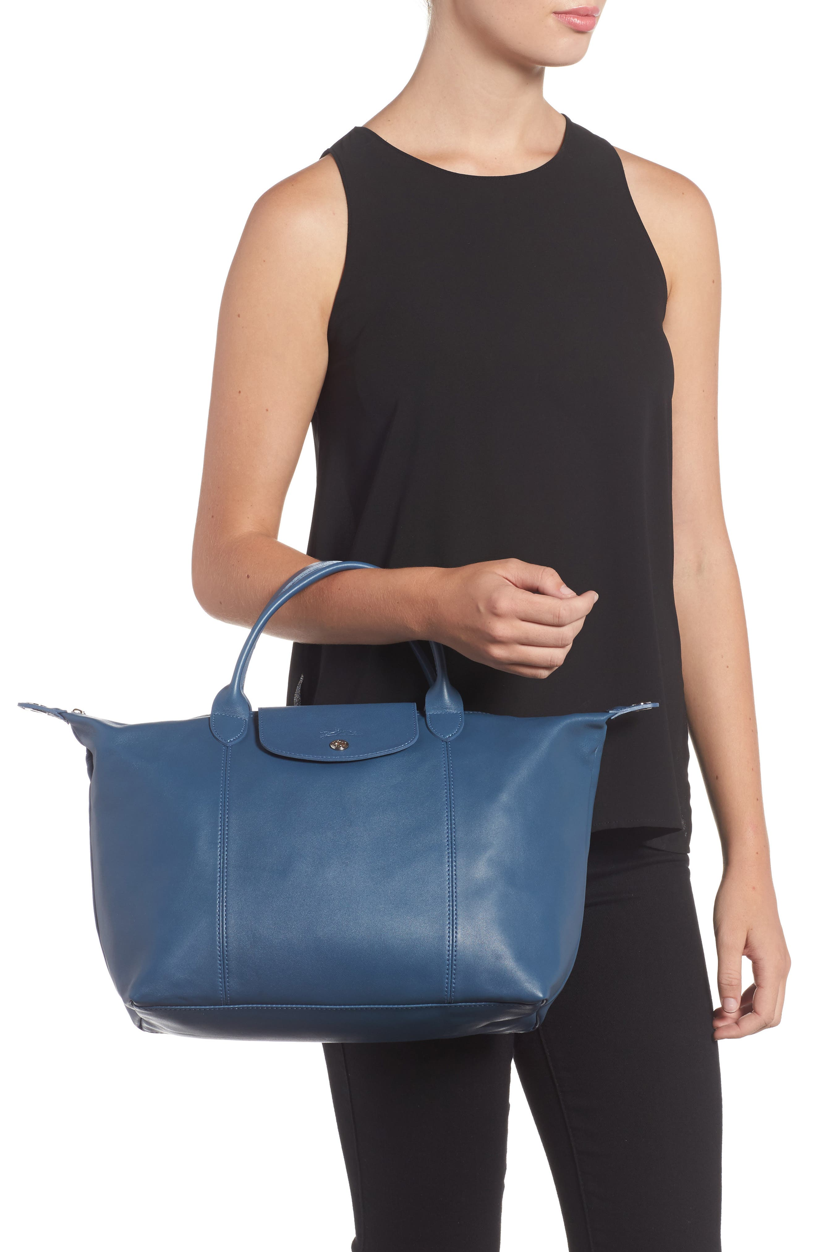 Medium 'Le Pliage Cuir' Leather Top Handle Tote,                             Alternate thumbnail 45, color,