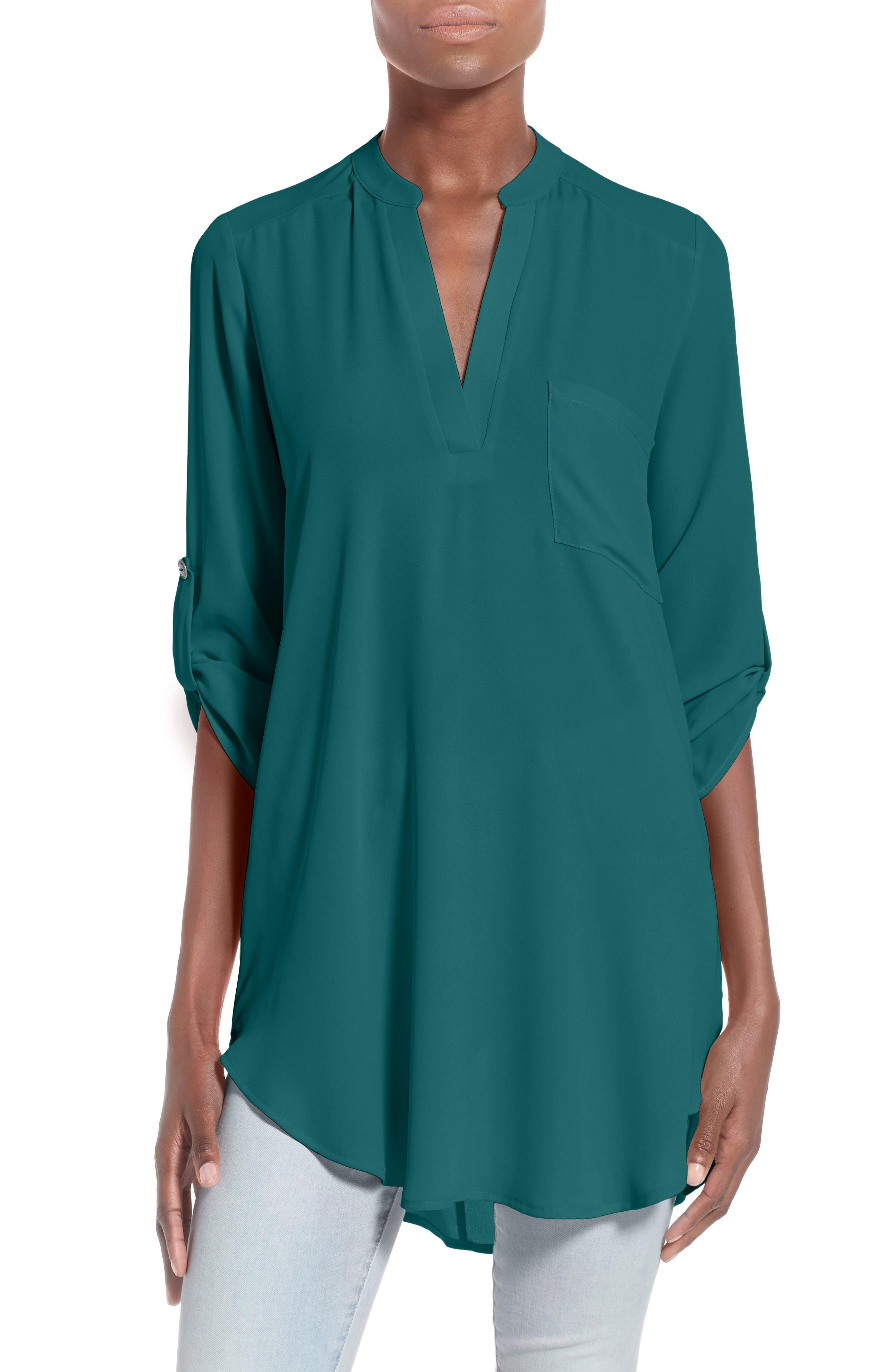 --- Perfect Roll Tab Sleeve Tunic, Main, color, DEEP TEAL