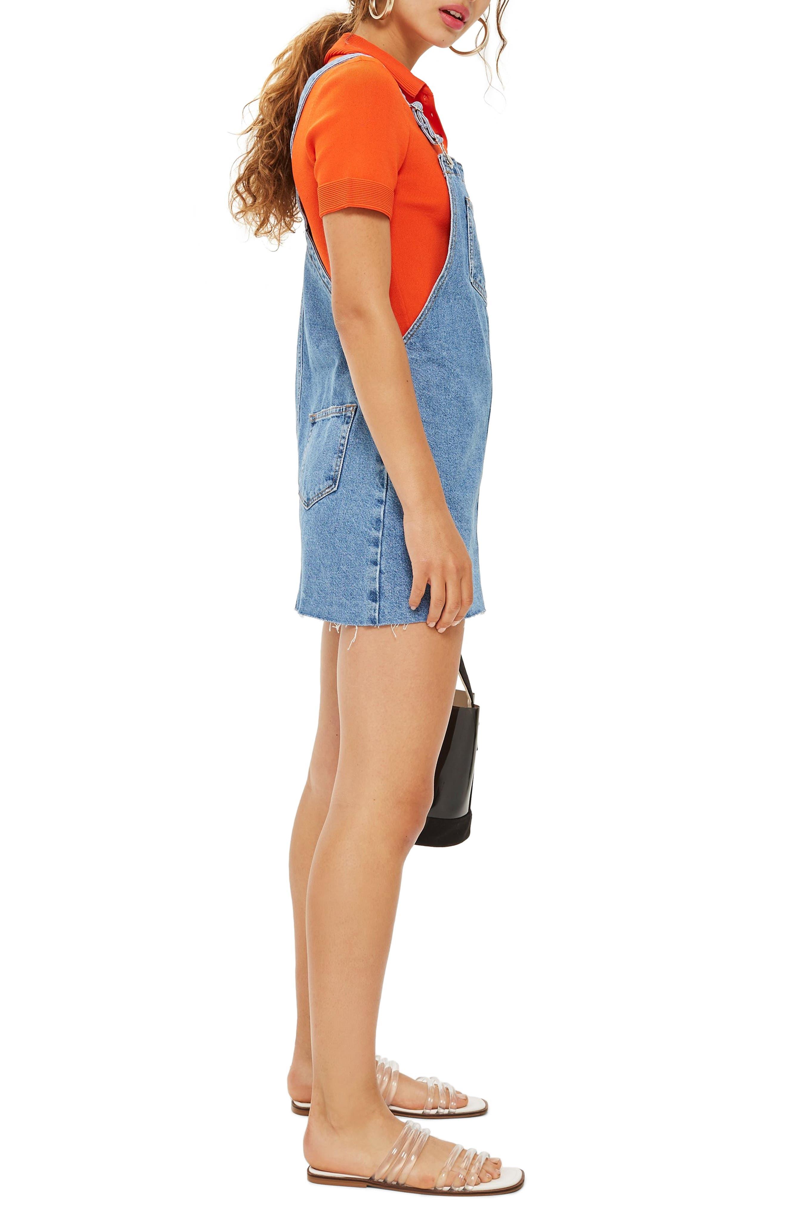 Raw Hem Denim Pinafore Dress,                             Alternate thumbnail 3, color,                             420