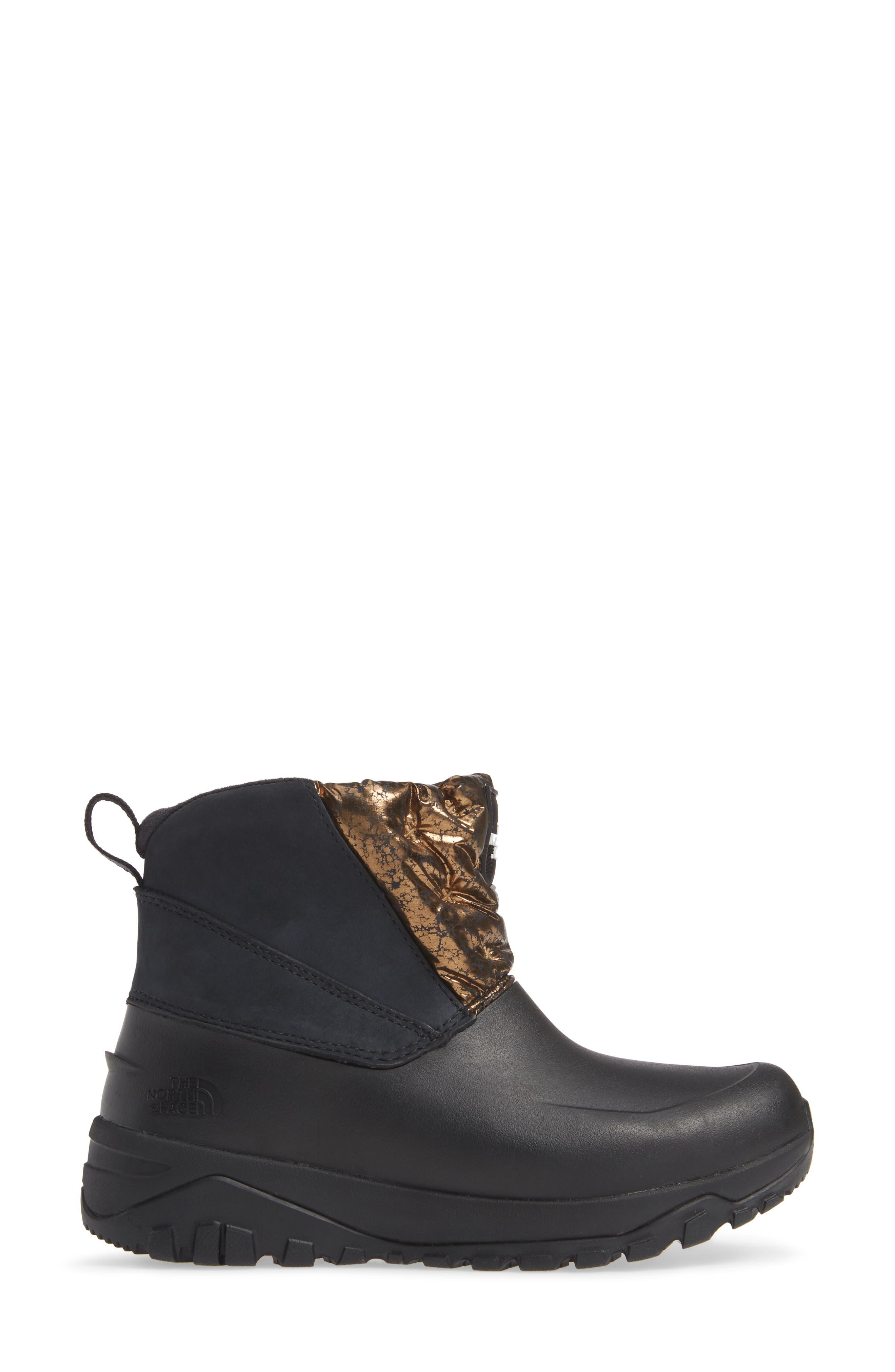 Yukiona Waterproof Ankle Boot,                             Alternate thumbnail 3, color,                             BLACK/ METALLIC COPPER