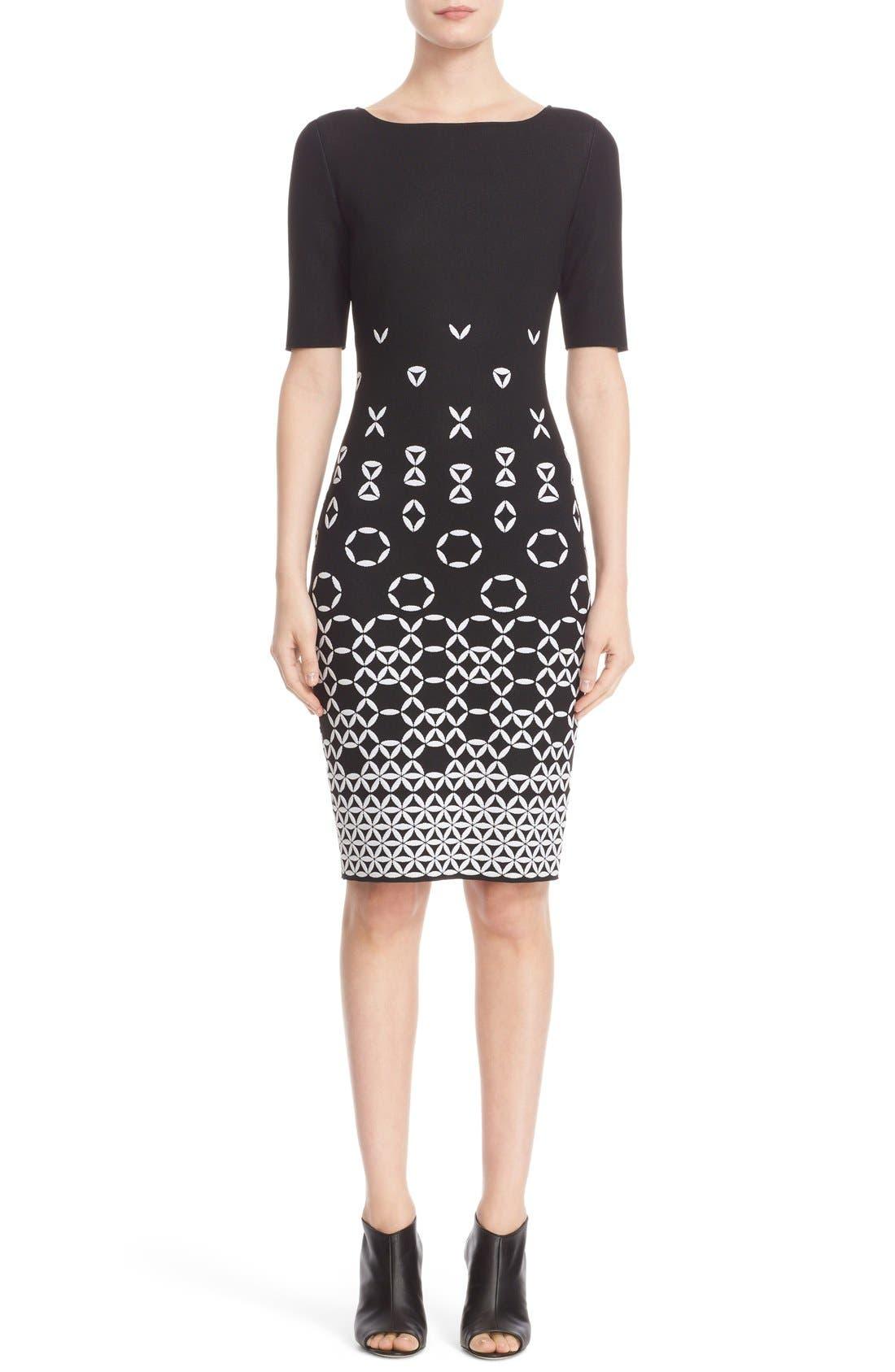 Graphic Knit Sheath Dress,                             Main thumbnail 1, color,                             001