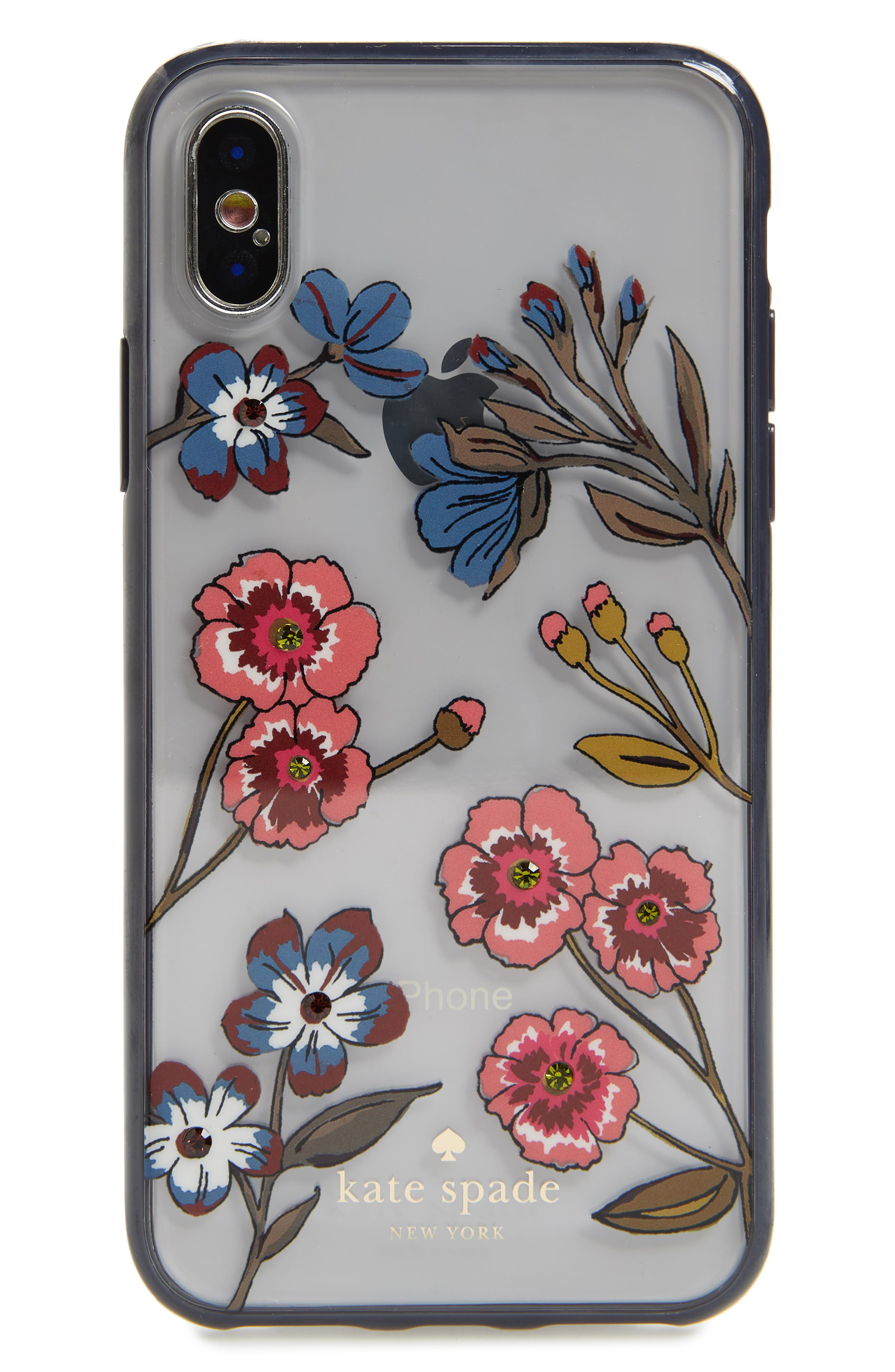 jeweled meadow iPhone X/Xs case,                             Main thumbnail 1, color,                             CLEAR MULTI
