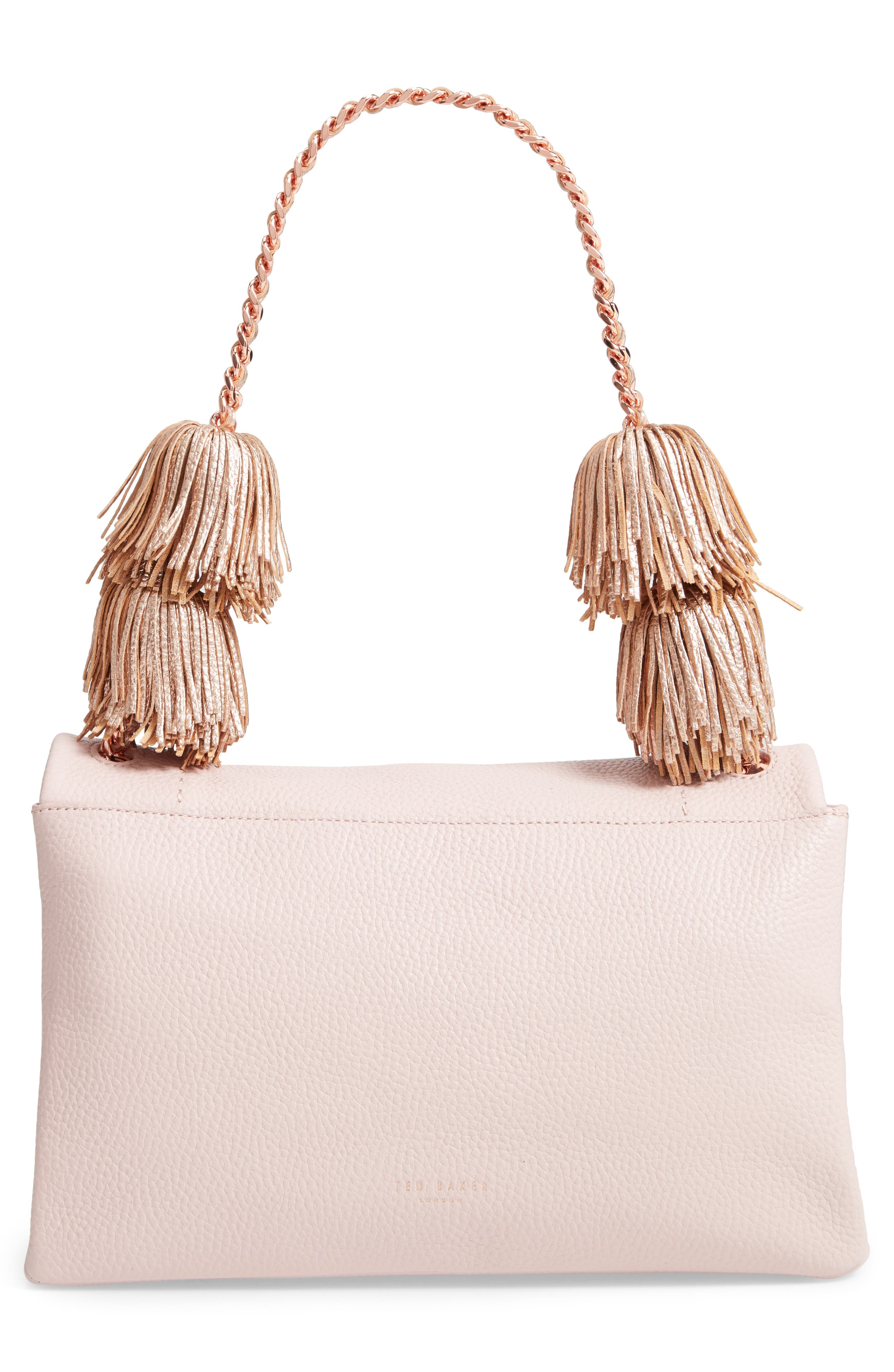 Melody Pom Leather Shoulder Bag,                             Alternate thumbnail 3, color,                             PALE PINK