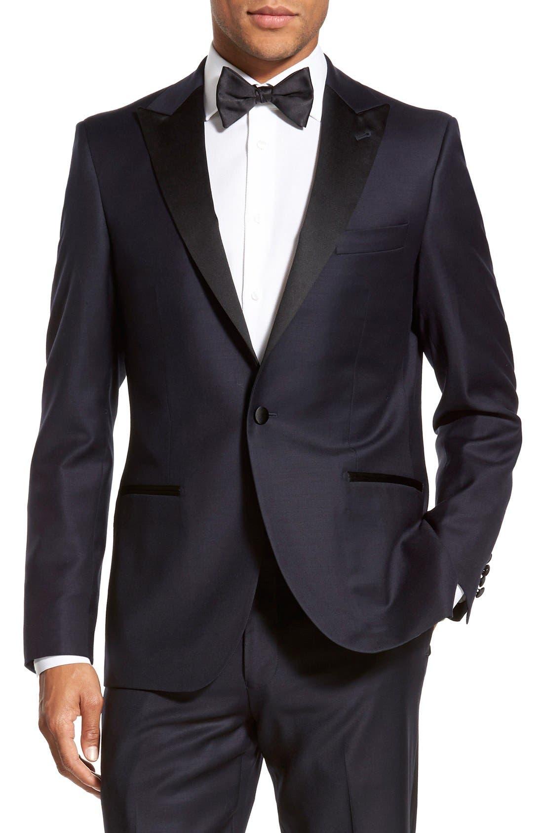 'Aston' Trim Fit Solid Wool Tuxedo,                             Alternate thumbnail 4, color,                             410
