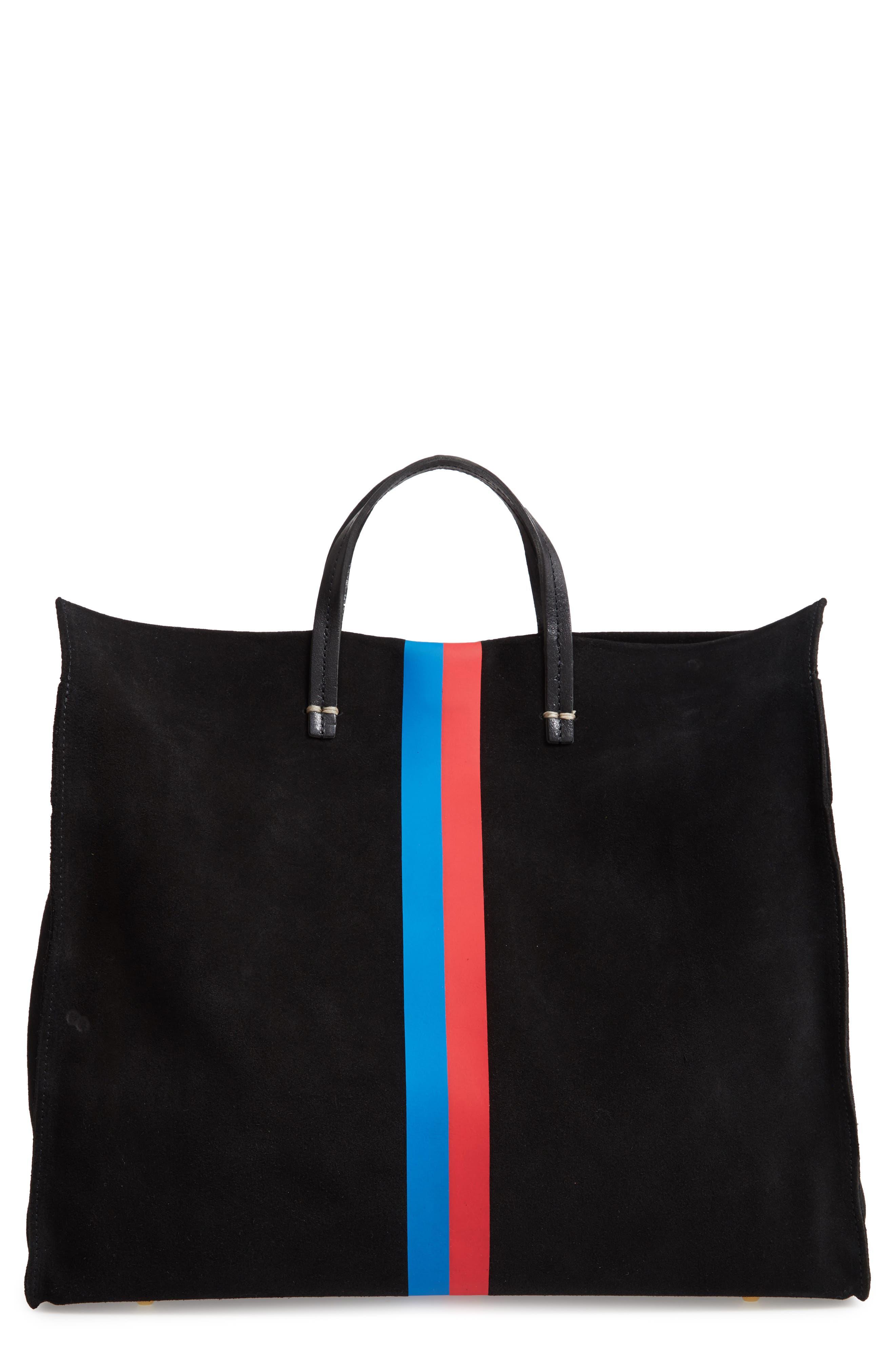 Simple Stripe Suede Tote,                         Main,                         color, BLACK SUEDE STRIPE