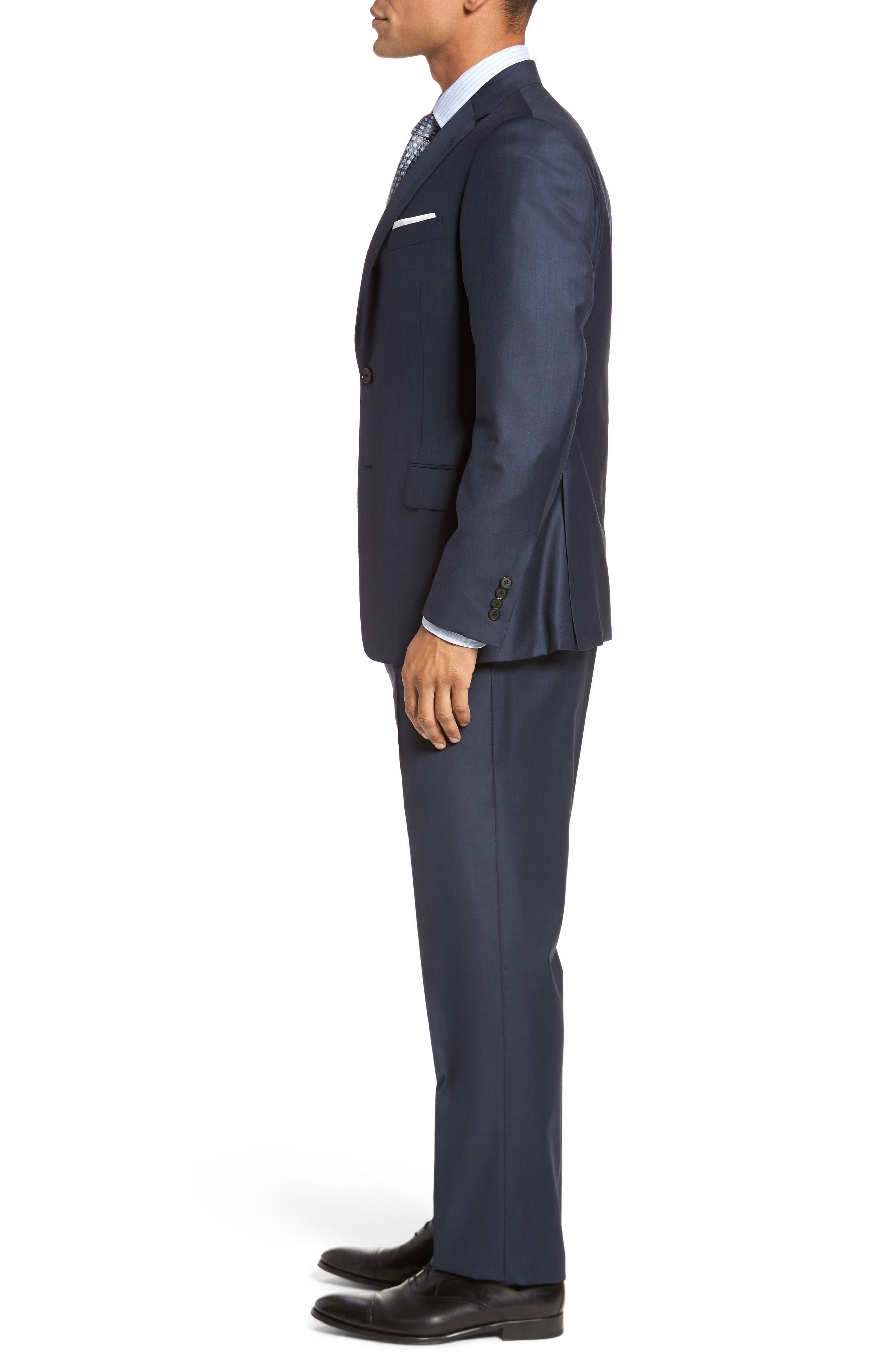 Modern H Fit Solid Loro Piana Wool Suit,                             Alternate thumbnail 3, color,                             NAVY SHARKSKIN