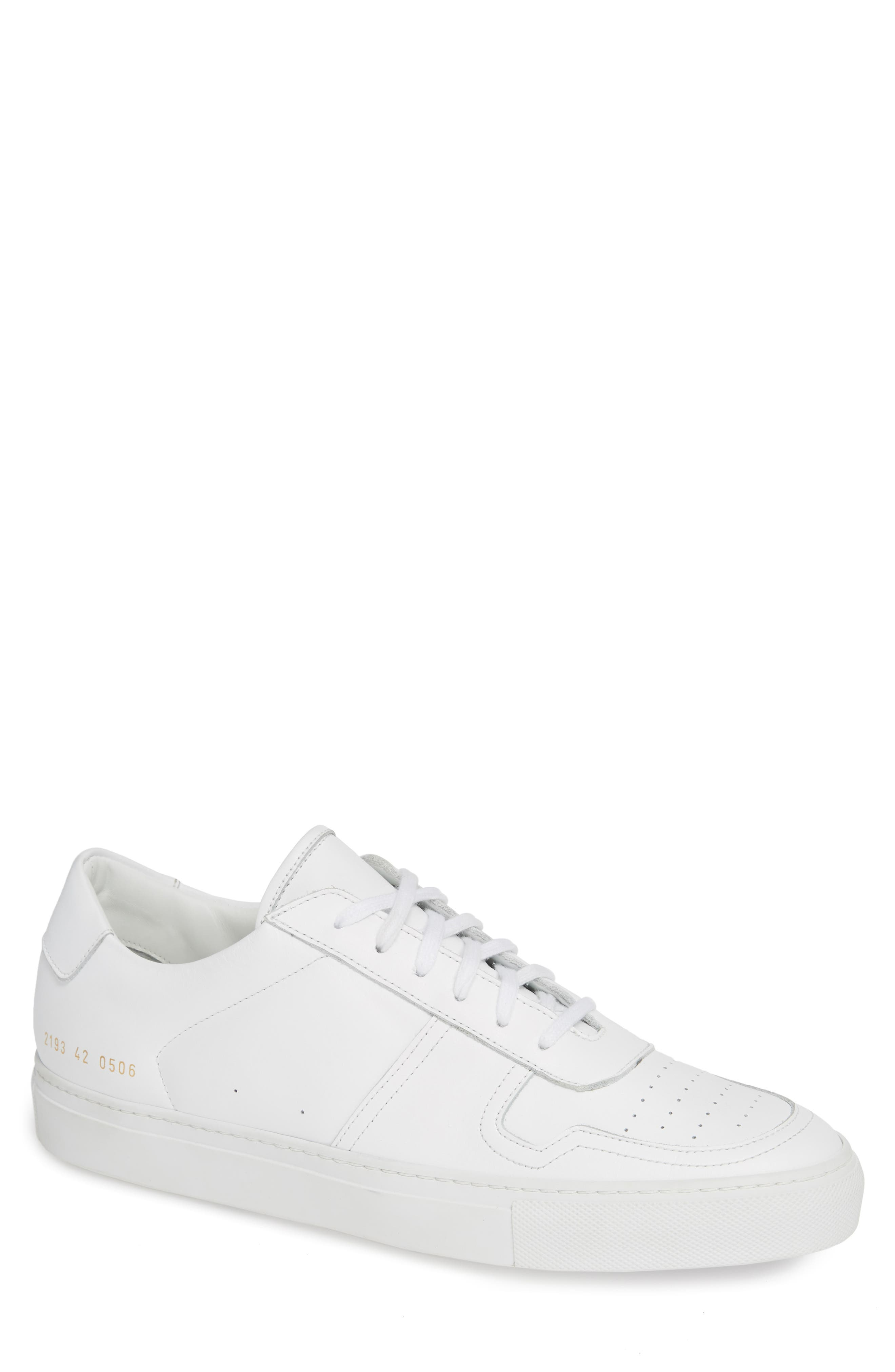 COMMON PROJECTS,                             Bball Low Top Sneaker,                             Main thumbnail 1, color,                             WHITE