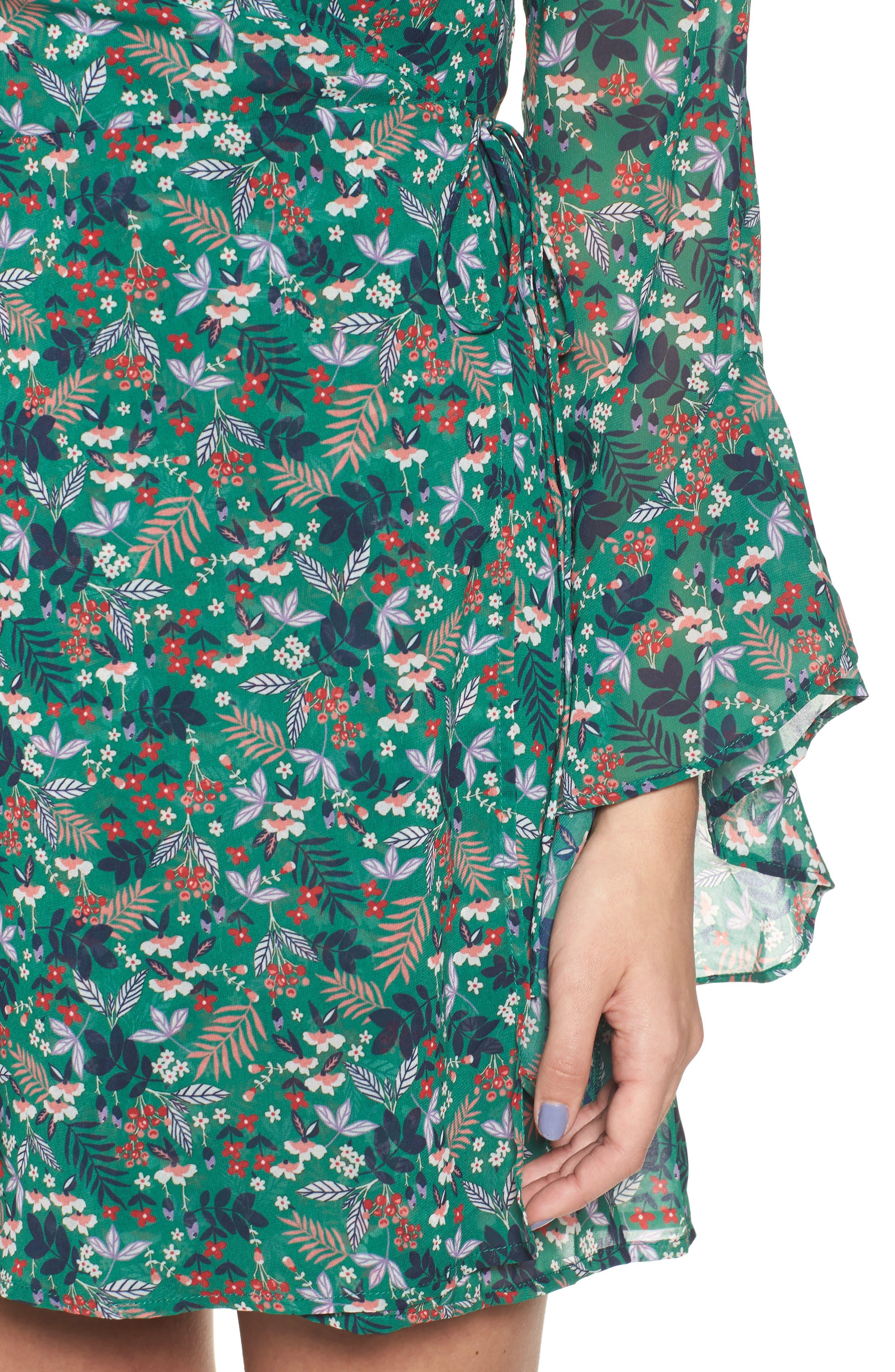 Viridian Floral Wrap Dress,                             Alternate thumbnail 4, color,