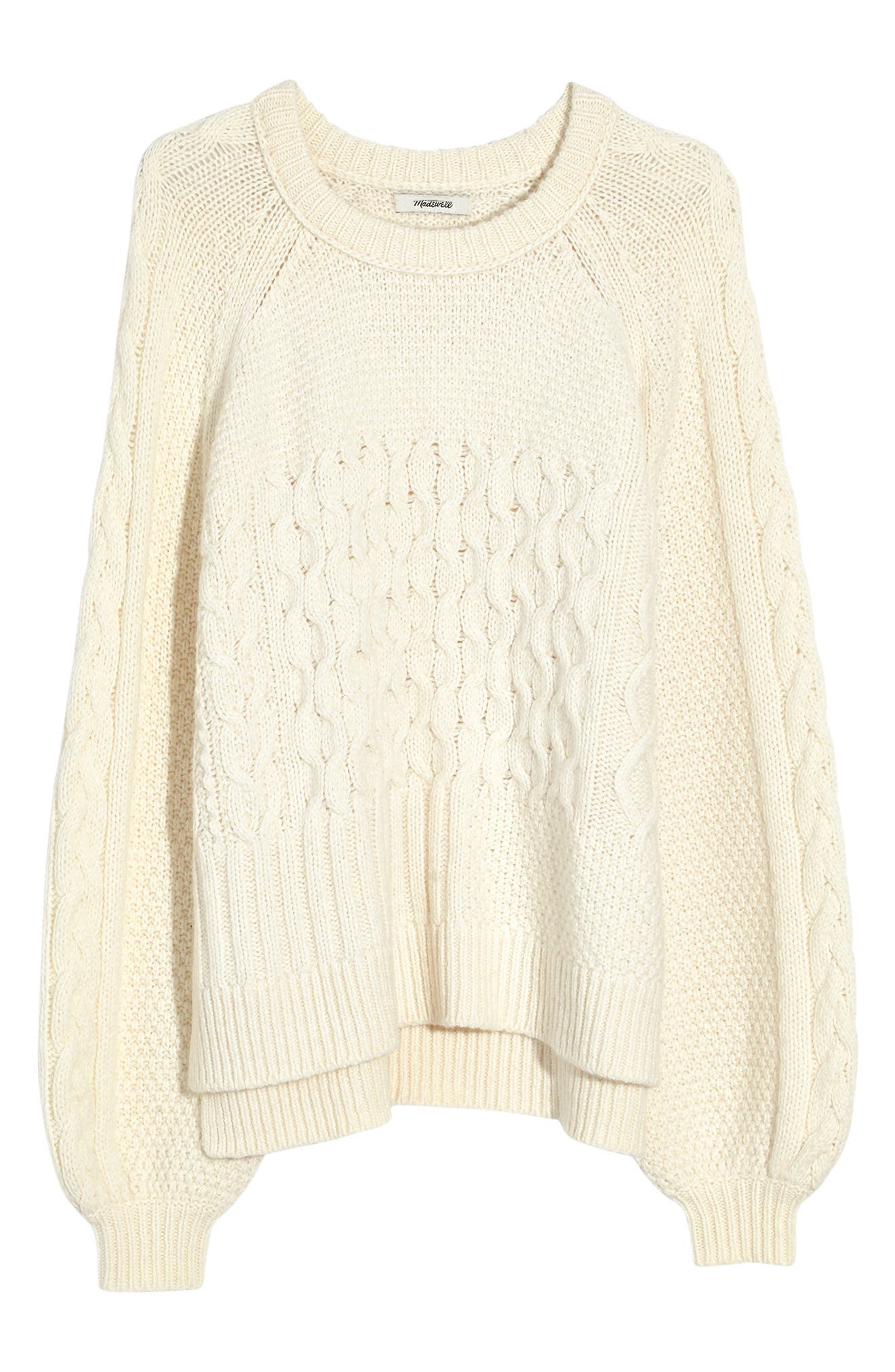 Copenhagen Cable Sweater,                             Alternate thumbnail 5, color,                             ANTIQUE CREAM