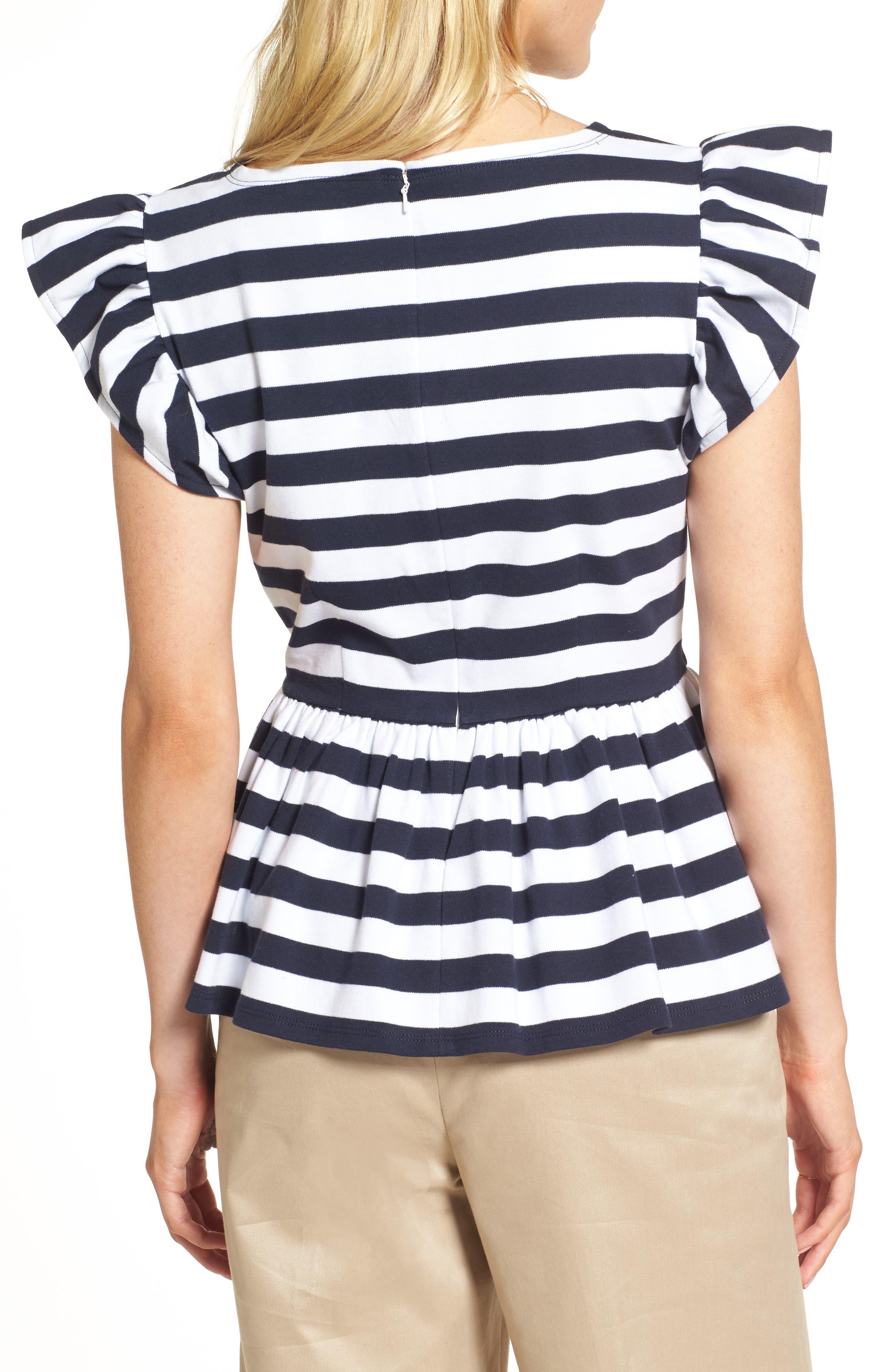 Stripe Knit Peplum Top,                             Alternate thumbnail 6, color,
