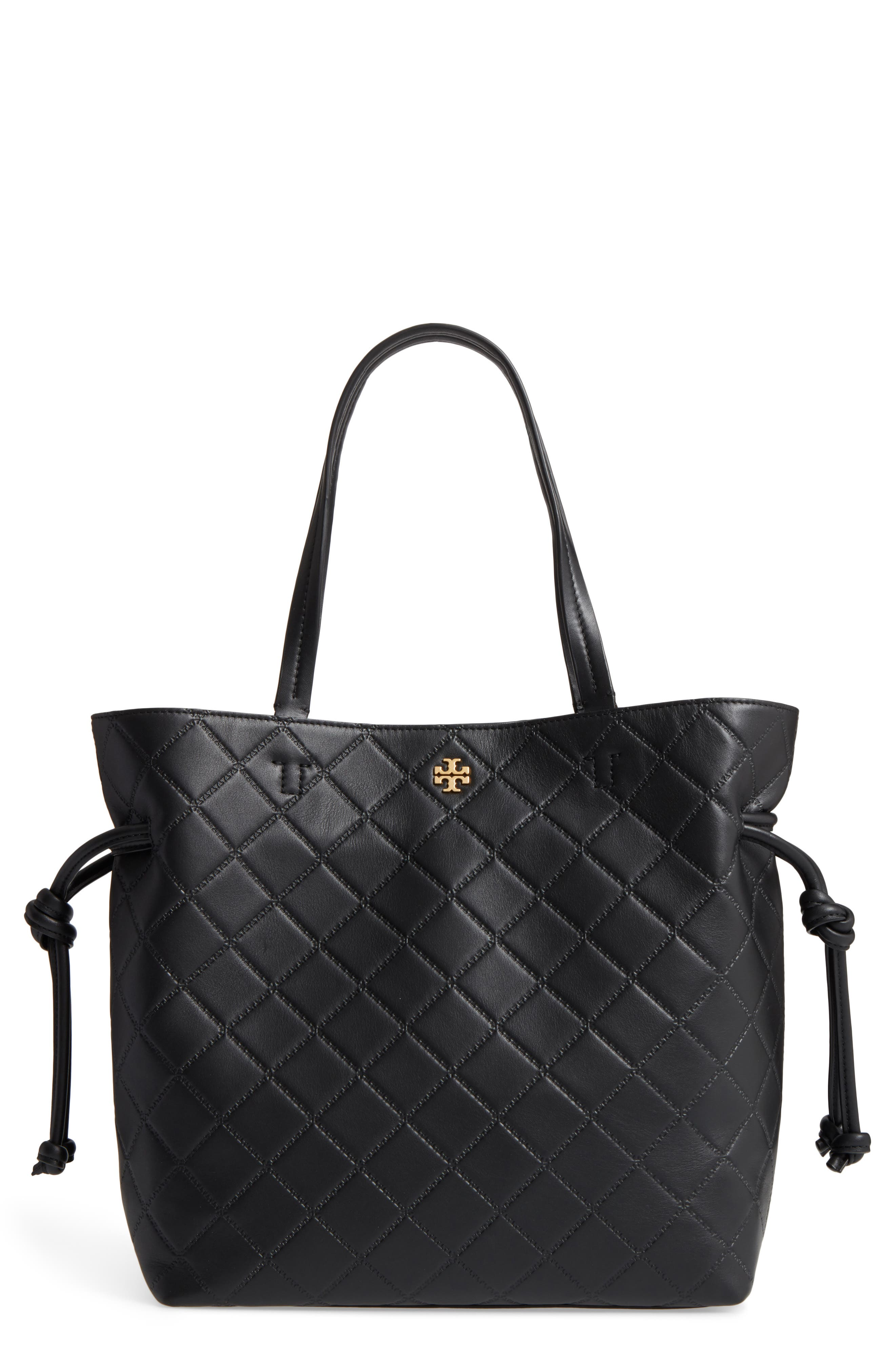 Georgia Slouchy Quilted Leather Tote,                         Main,                         color, 001