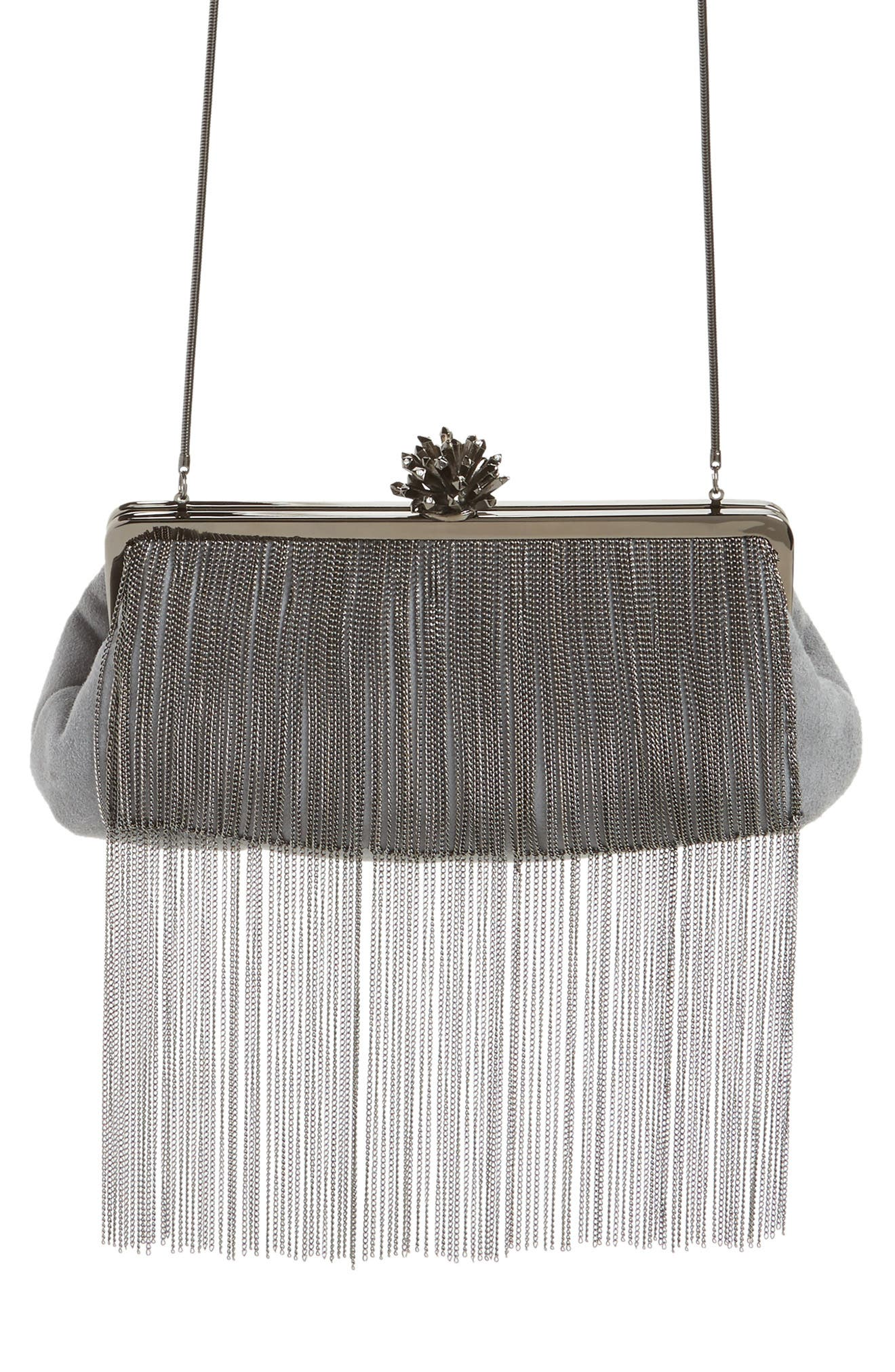 Deluxe Fringe Suede Clutch,                             Main thumbnail 1, color,