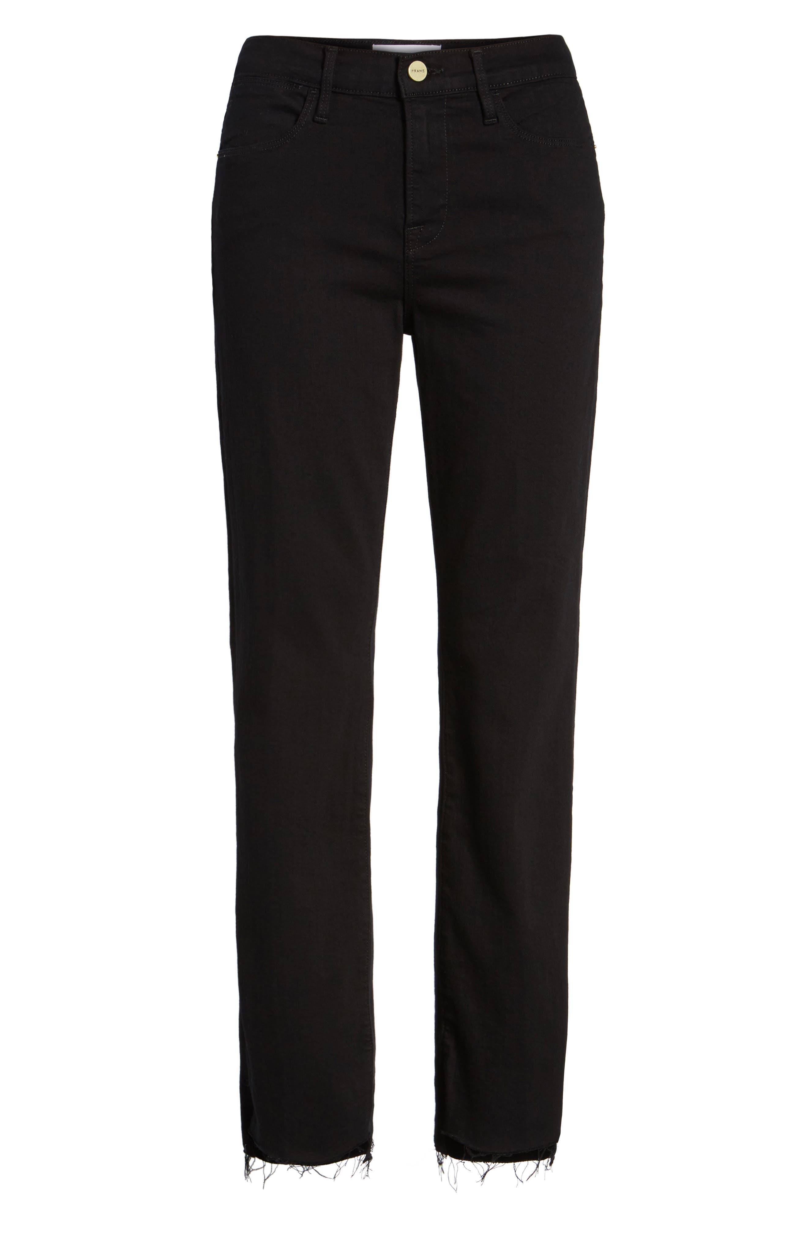 Le High Straight High Waist Staggered Hem Jeans,                         Main,                         color, 001