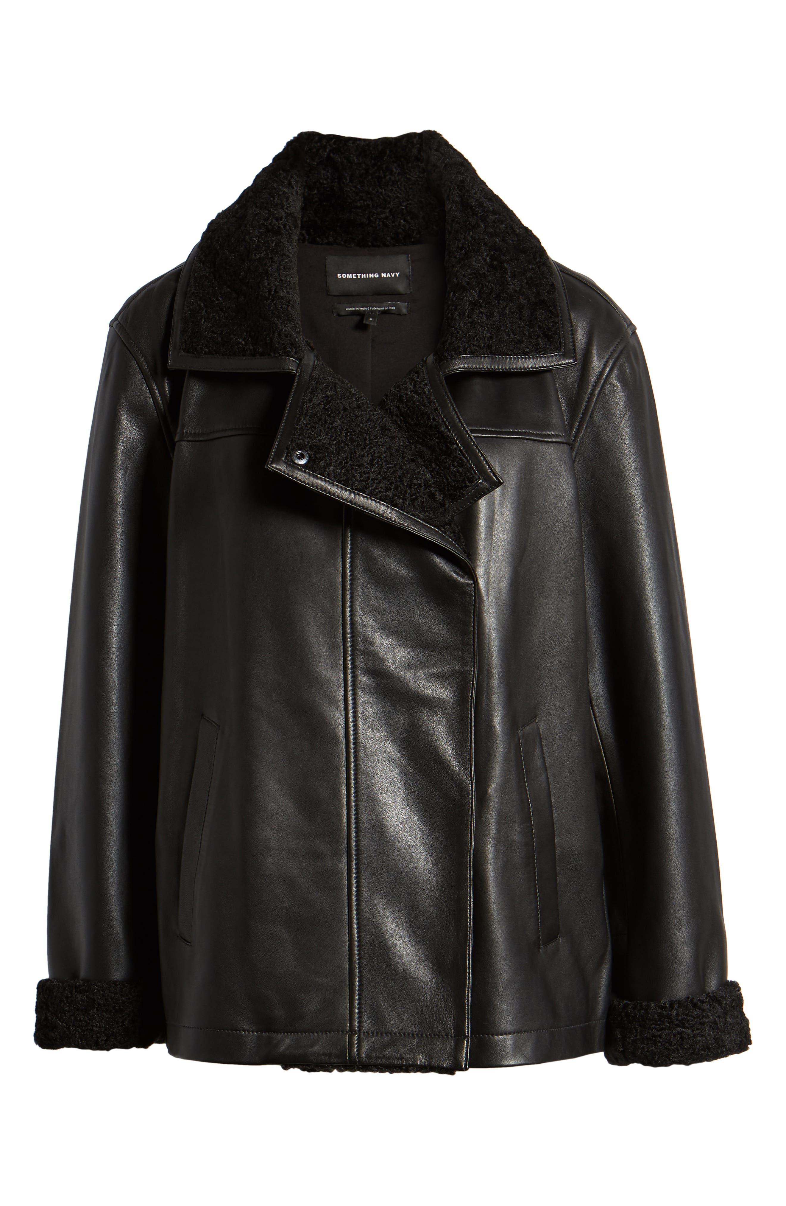 SOMETHING NAVY,                             Aviator Leather Jacket,                             Alternate thumbnail 6, color,                             001