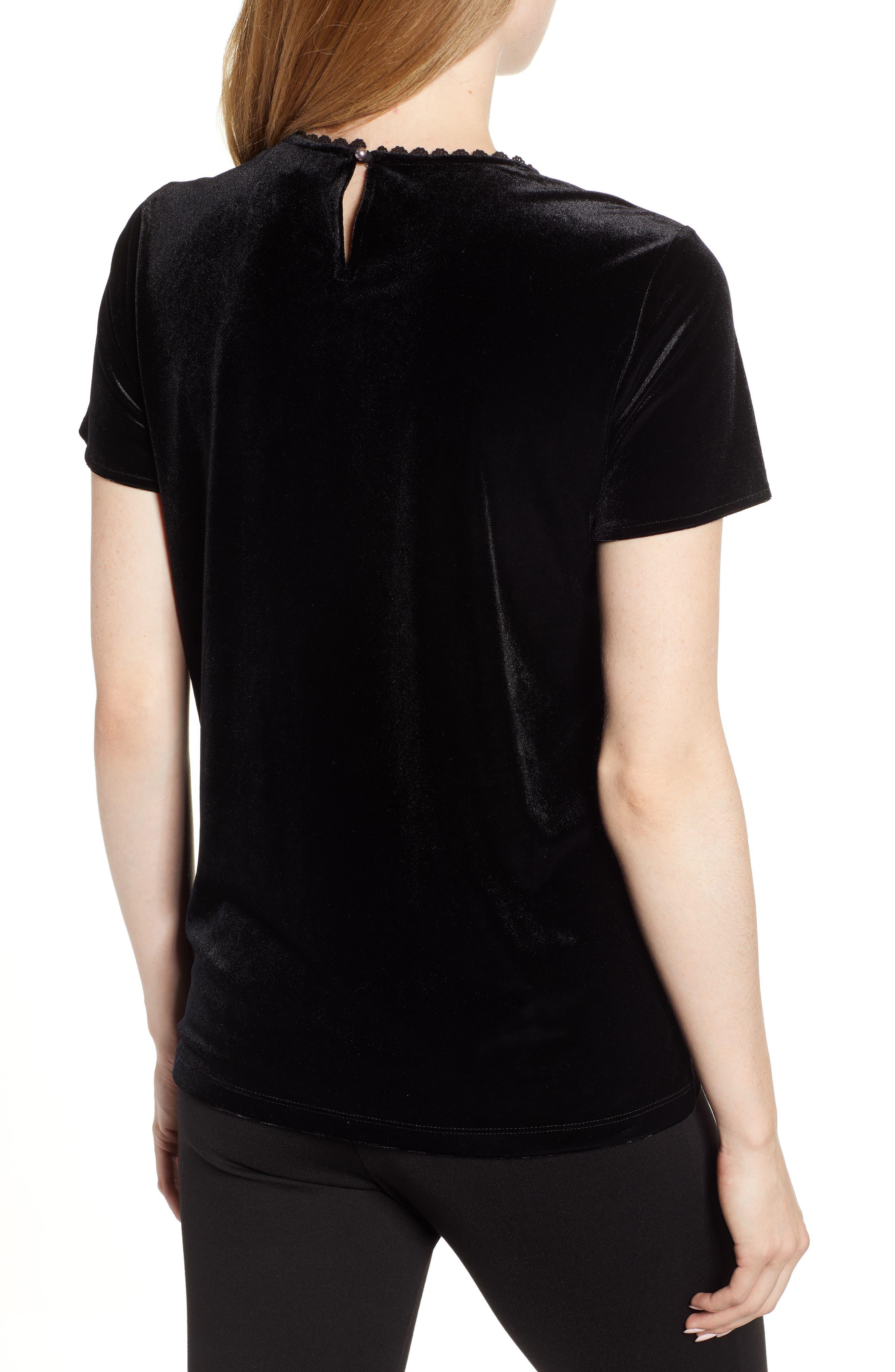 Karl Lagerfeld Lace Panel Velvet Tee,                             Alternate thumbnail 2, color,                             BLACK