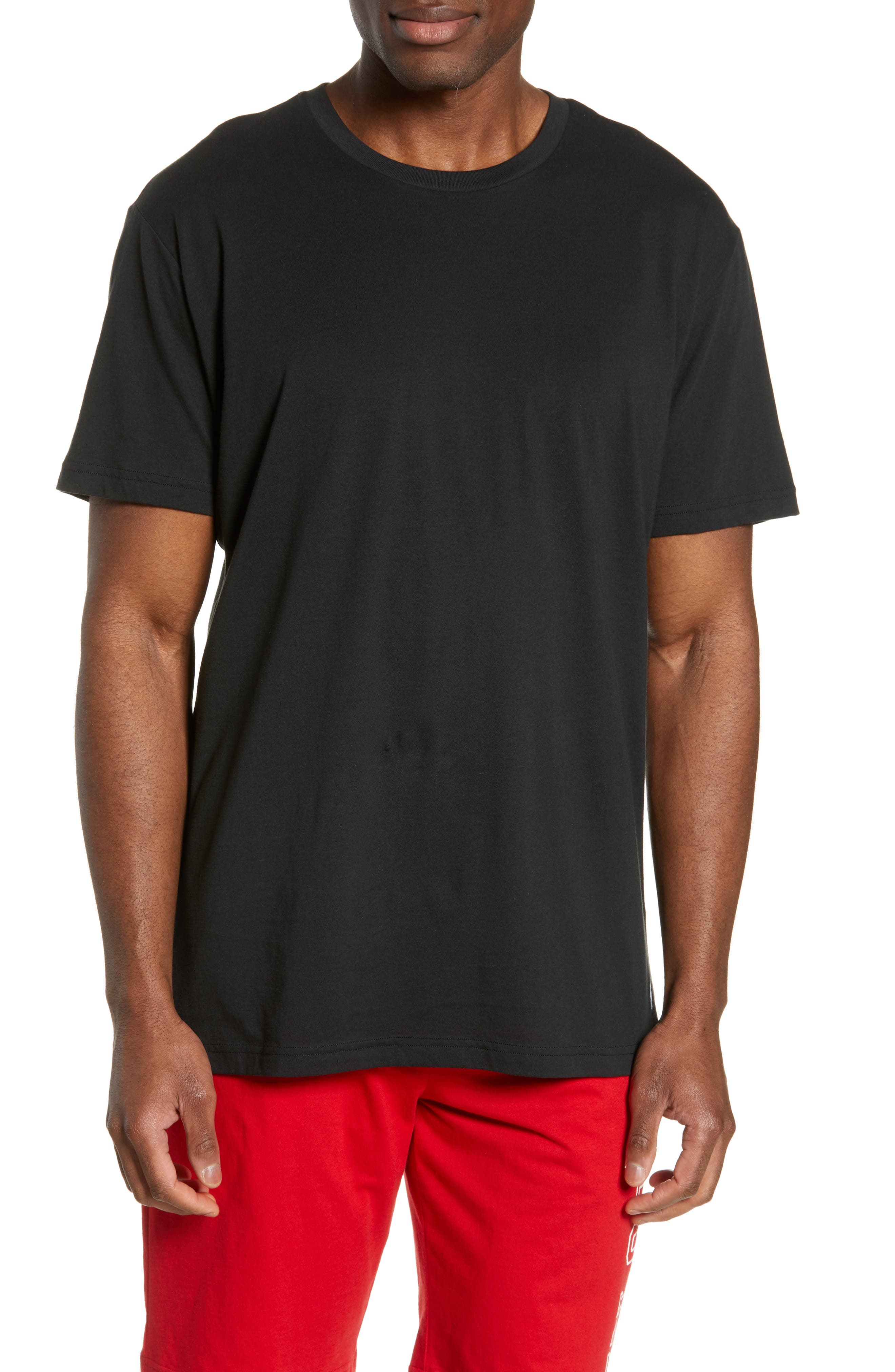 Enzyme Washed Crewneck T-Shirt, Main, color, POLO BLACK