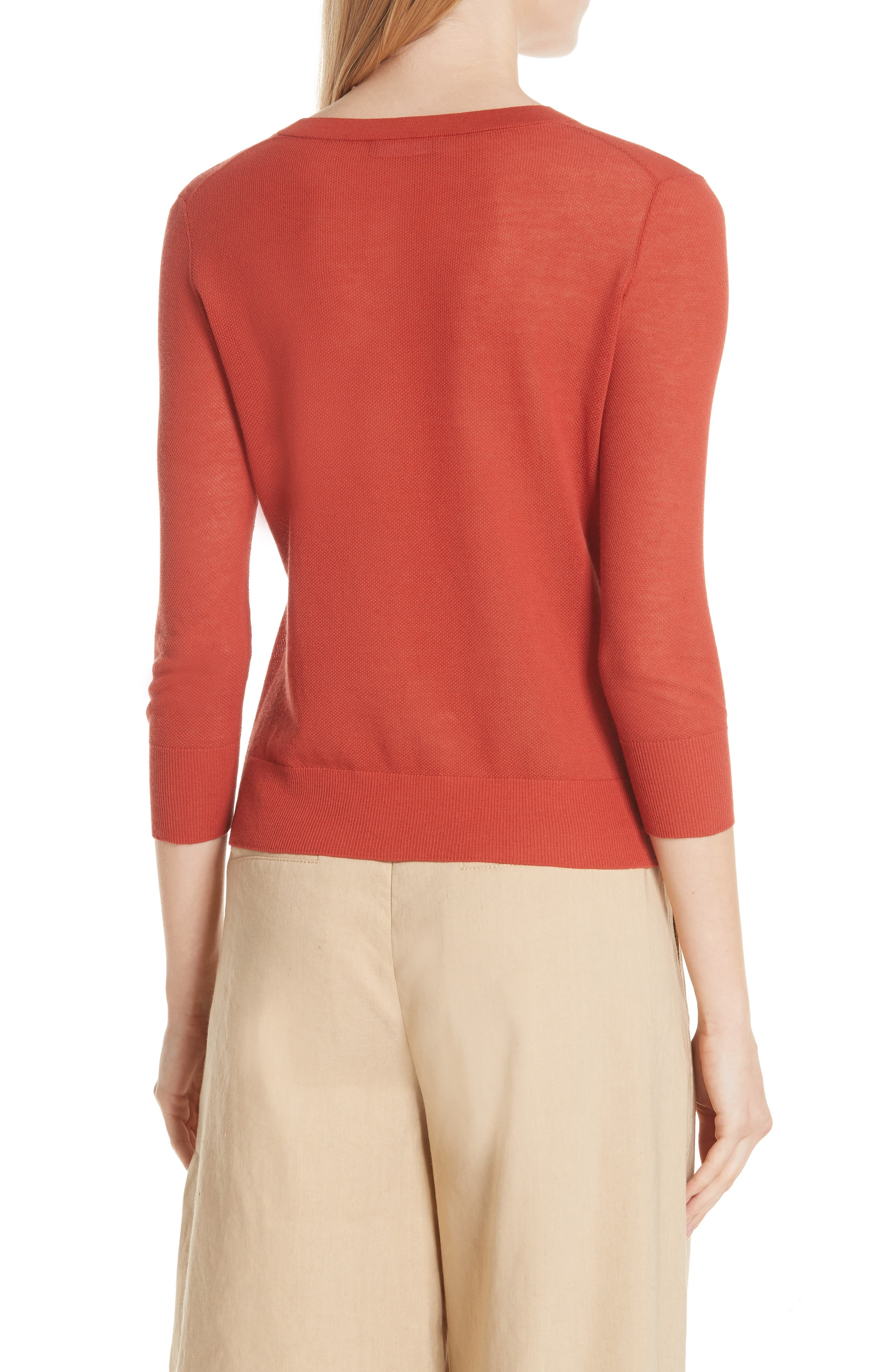 Textured Cotton Pullover Sweater,                             Alternate thumbnail 2, color,                             PAPRIKA