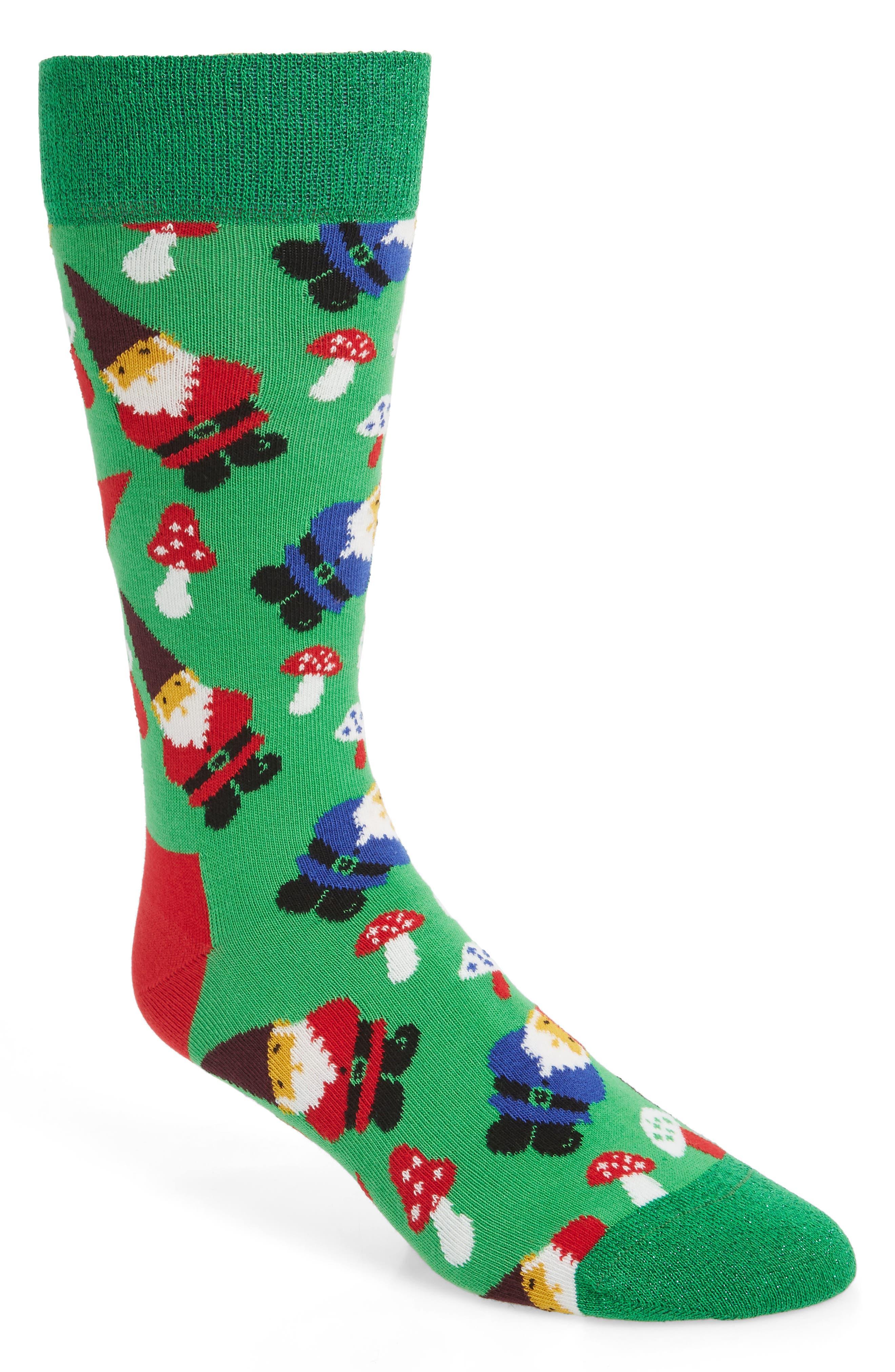 Holiday Gnome Socks,                         Main,                         color, GREEN