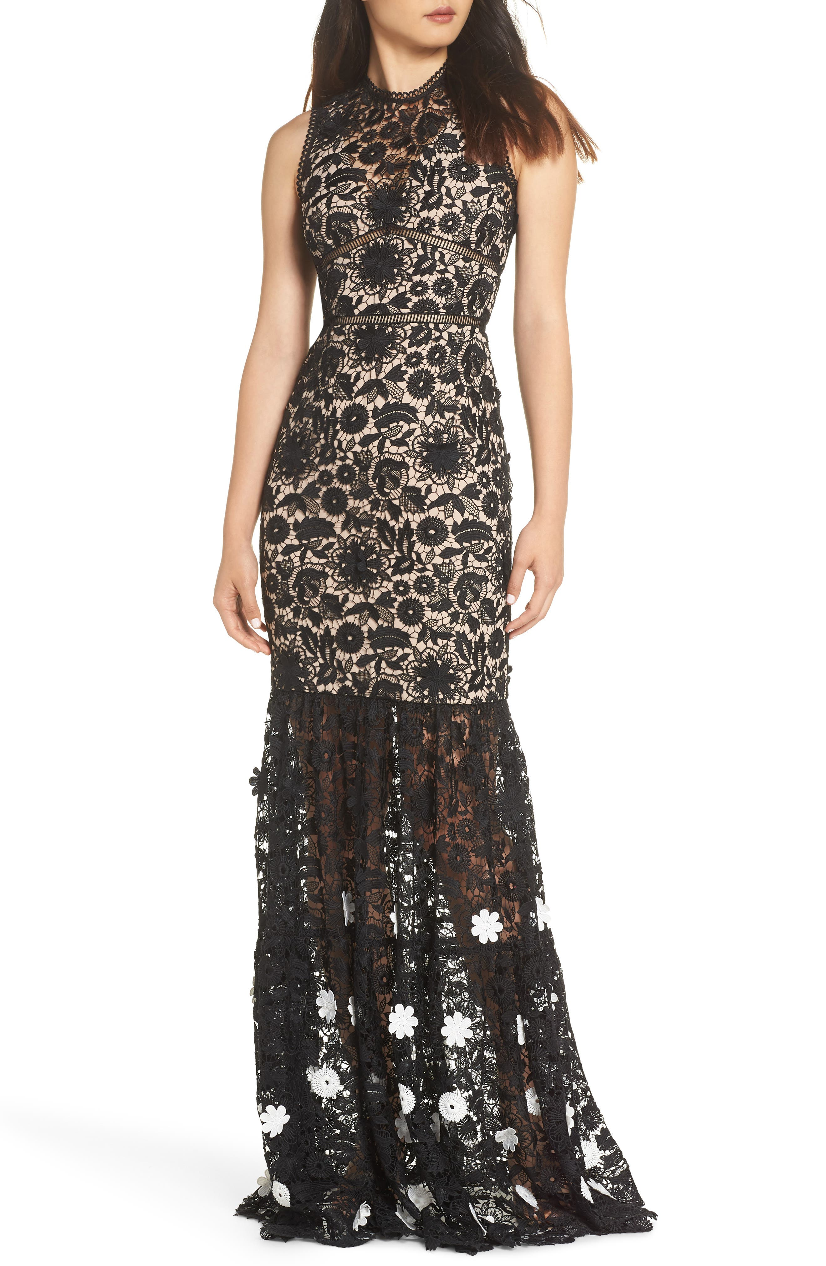 3D Black & White Floral Lace Gown,                             Main thumbnail 1, color,                             JET IVORY COMBO