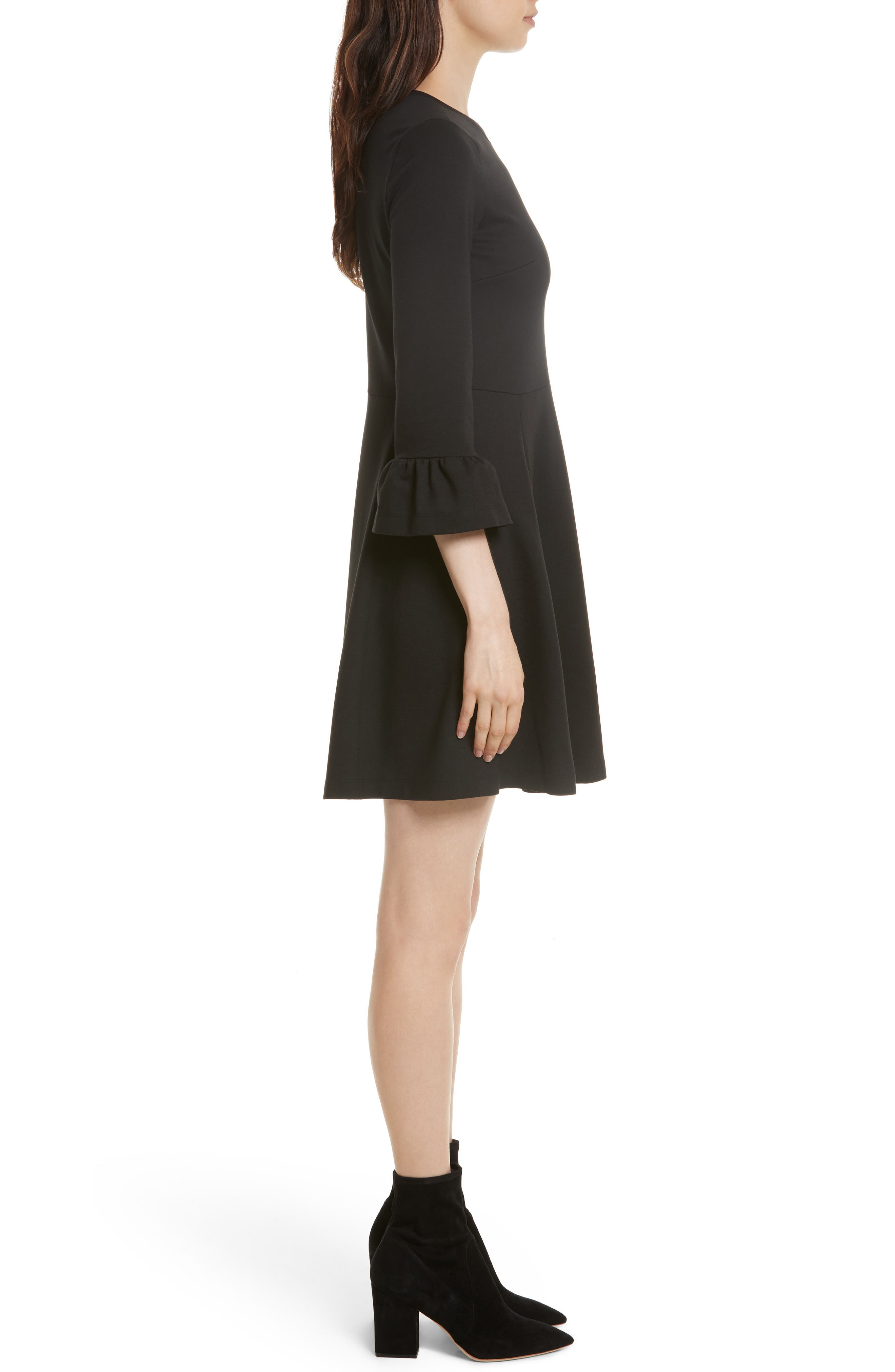ponte knit fit & flare dress,                             Alternate thumbnail 3, color,                             001