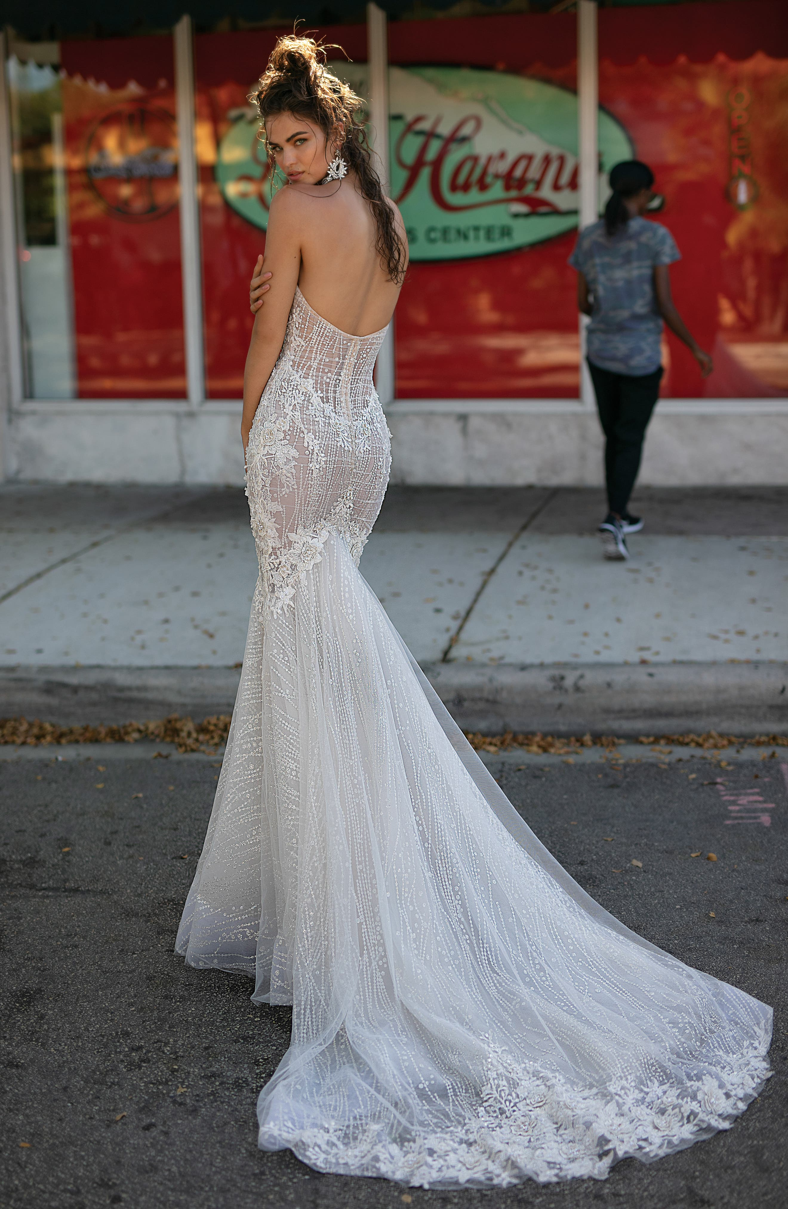Beaded & Embroidered Strapless Mermaid Gown,                             Alternate thumbnail 2, color,                             IVORY