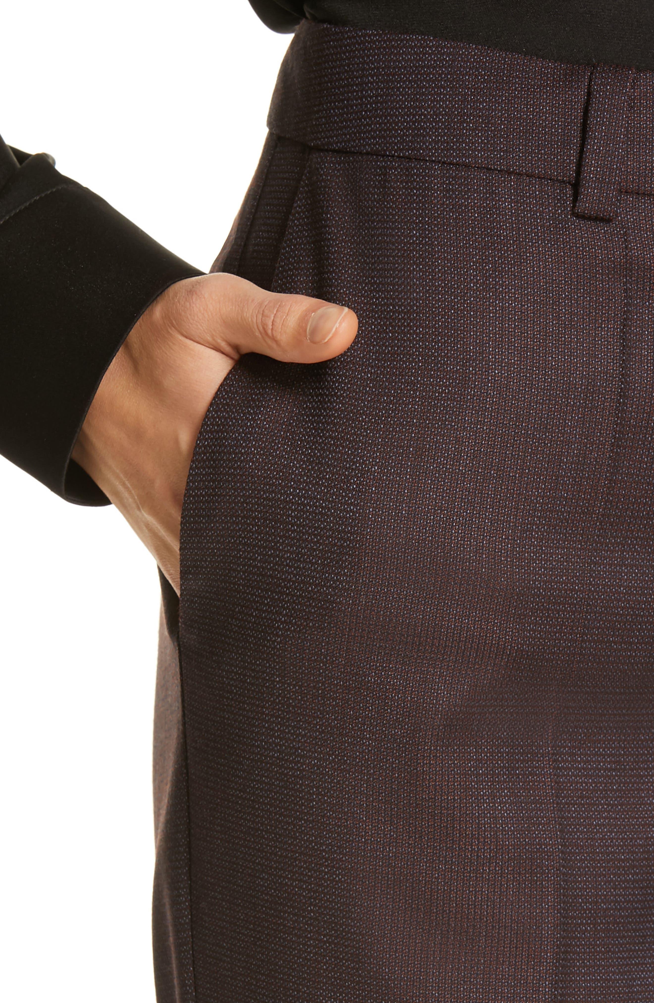 Tamea Slim Wool Suit Pants,                             Alternate thumbnail 4, color,                             DARK BERRY FANTASY