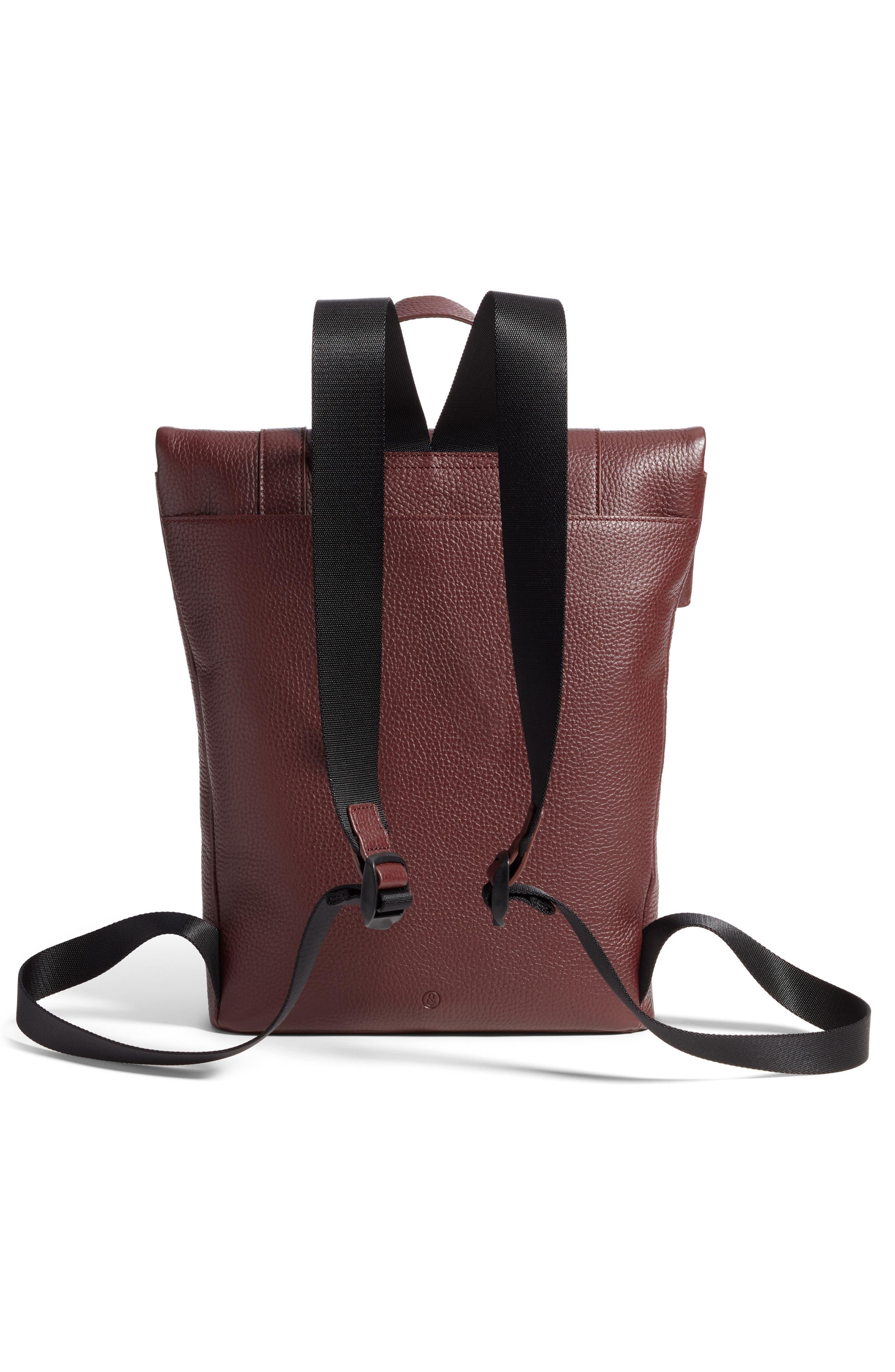 Remy Pebbled Leather Backpack,                             Alternate thumbnail 3, color,                             BURGUNDY FIG