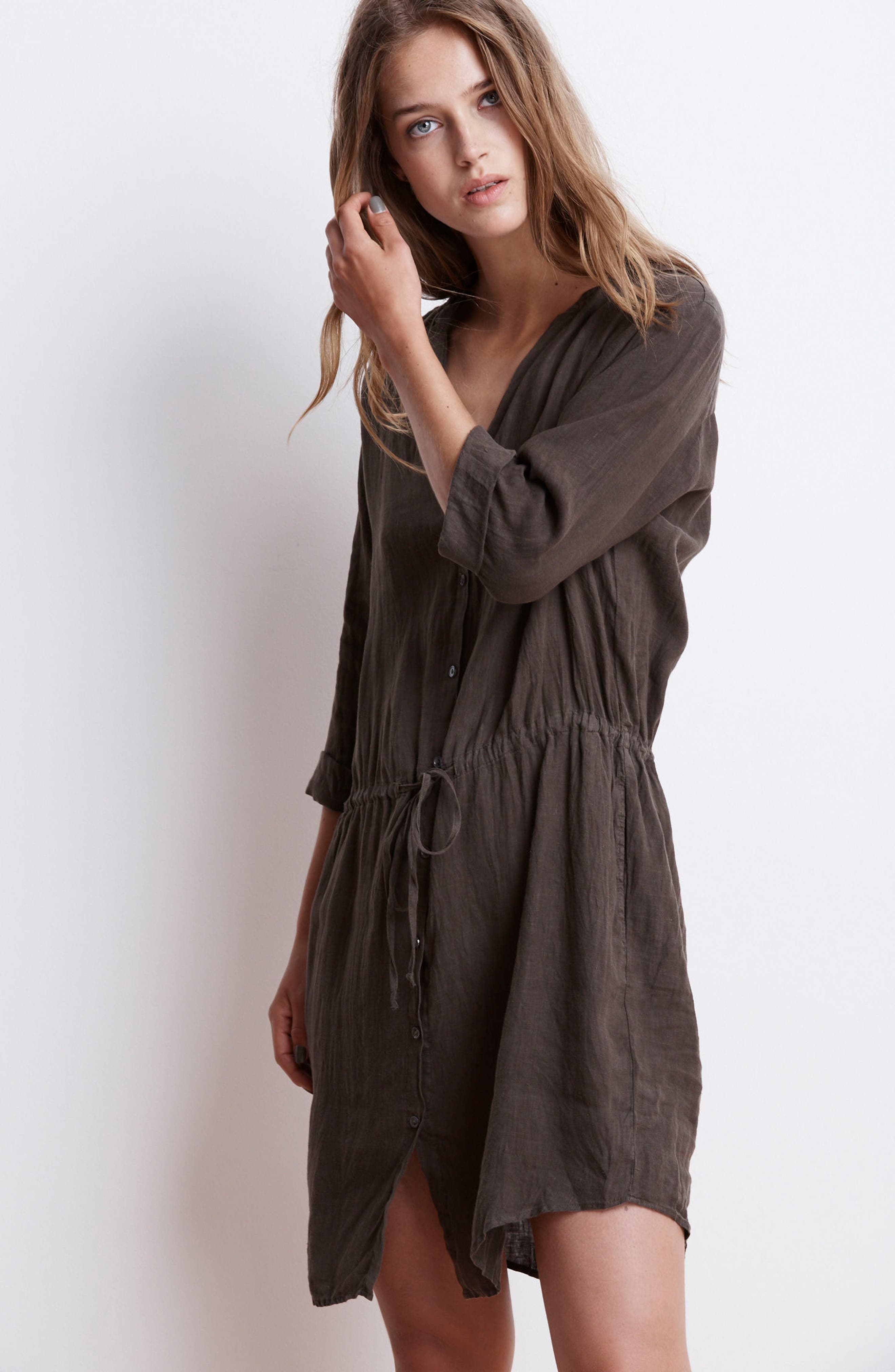Linen Drawstring Shirtdress,                             Alternate thumbnail 8, color,                             337