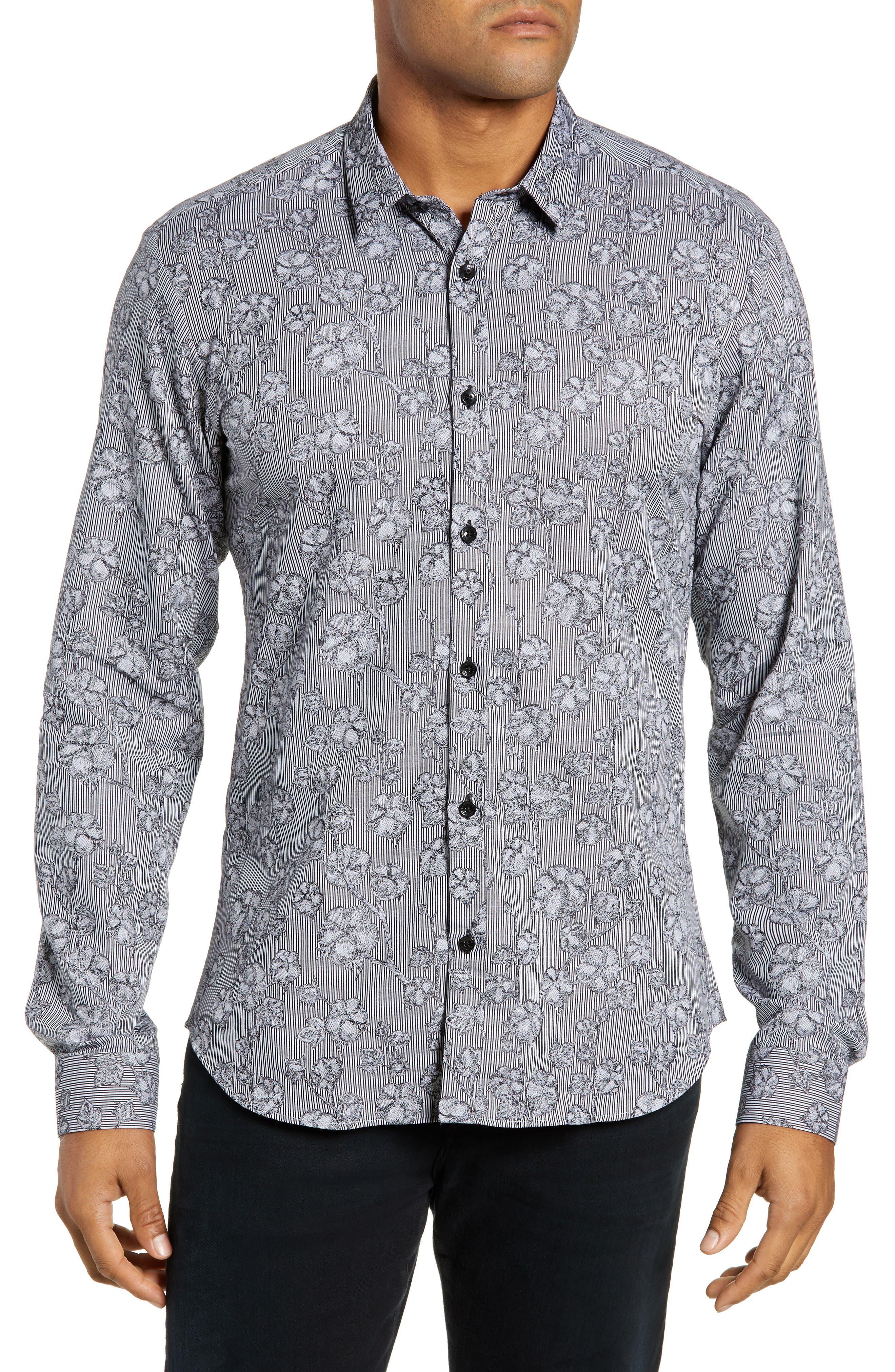 Trim Fit Sport Shirt,                         Main,                         color, GREY FLORAL