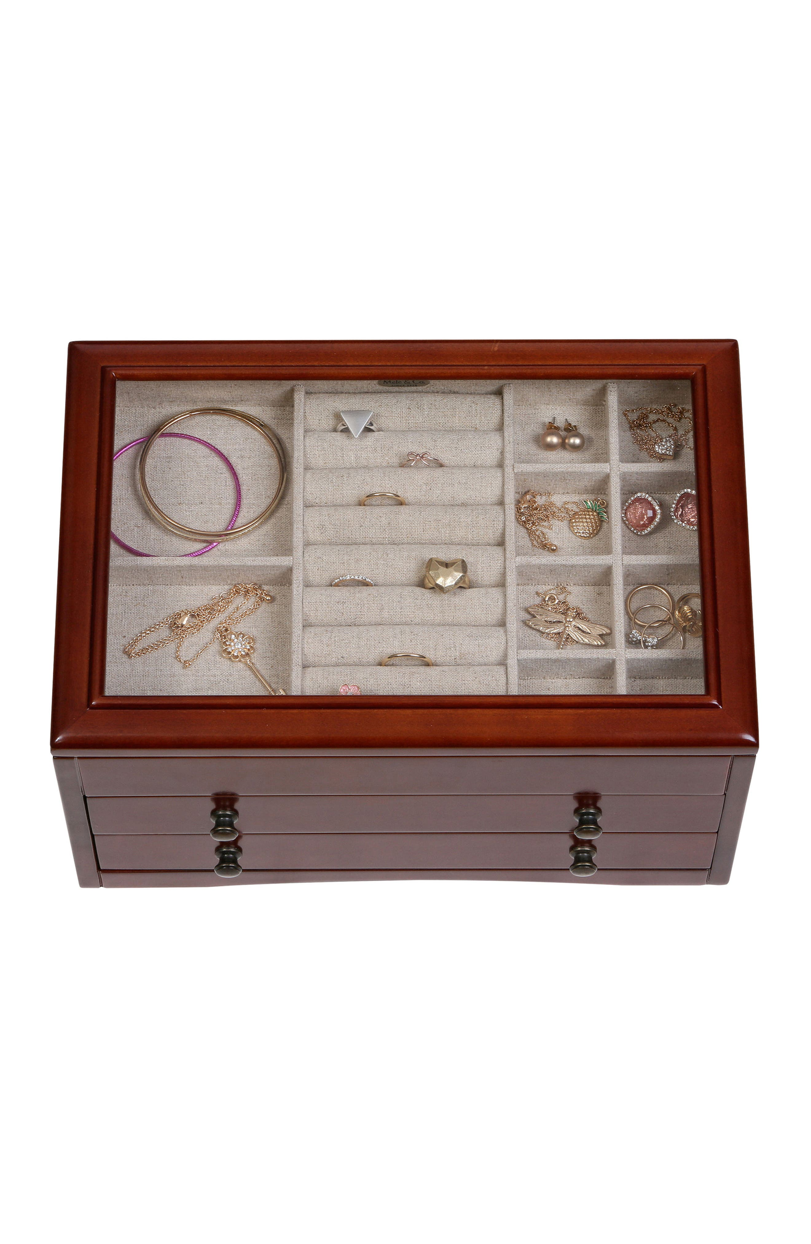 Haywood Glass Top Jewelry Box,                             Alternate thumbnail 5, color,                             200