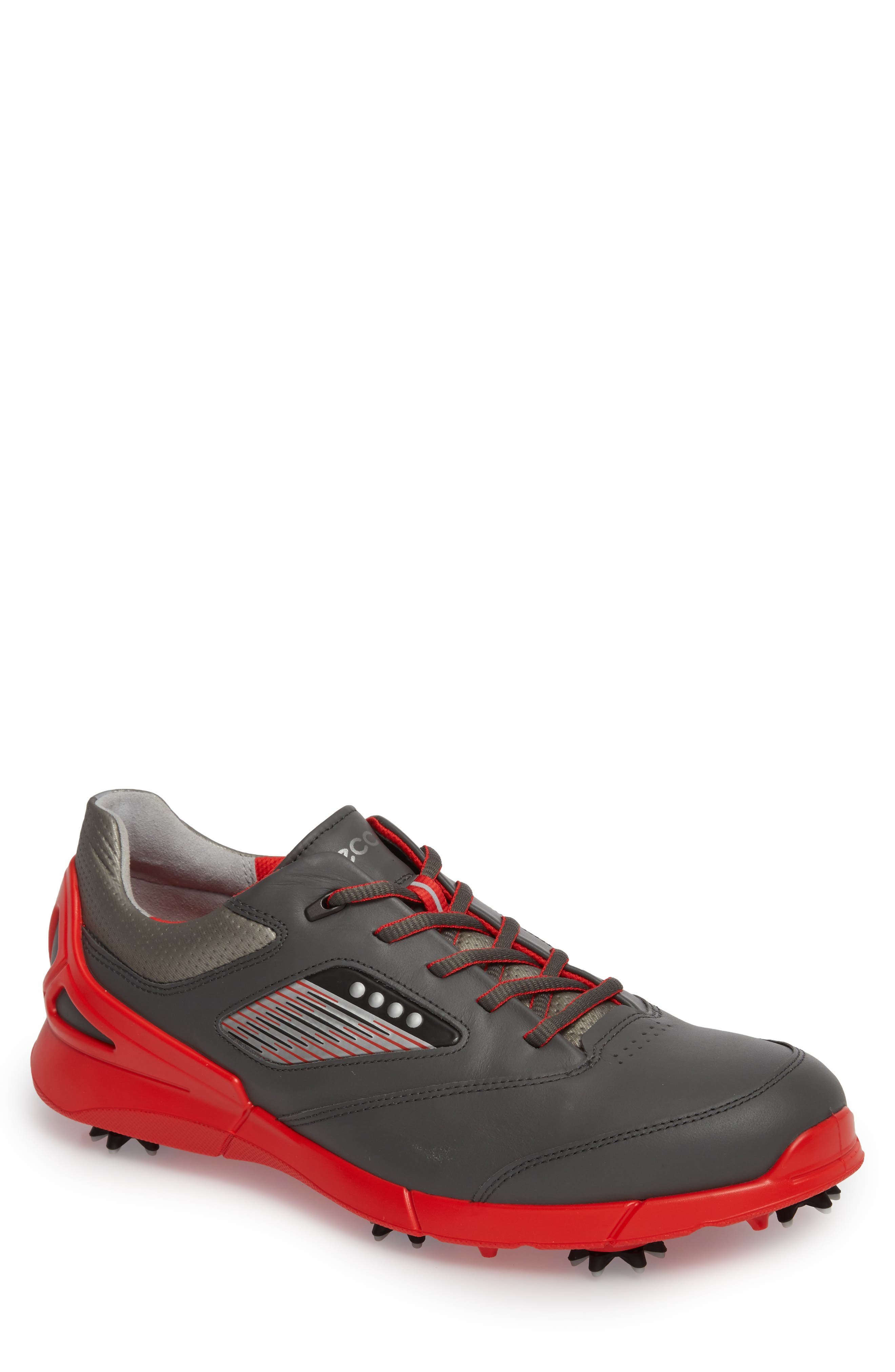 Base One Golf Shoe,                             Main thumbnail 1, color,                             BLACK/ SCARLET LEATHER
