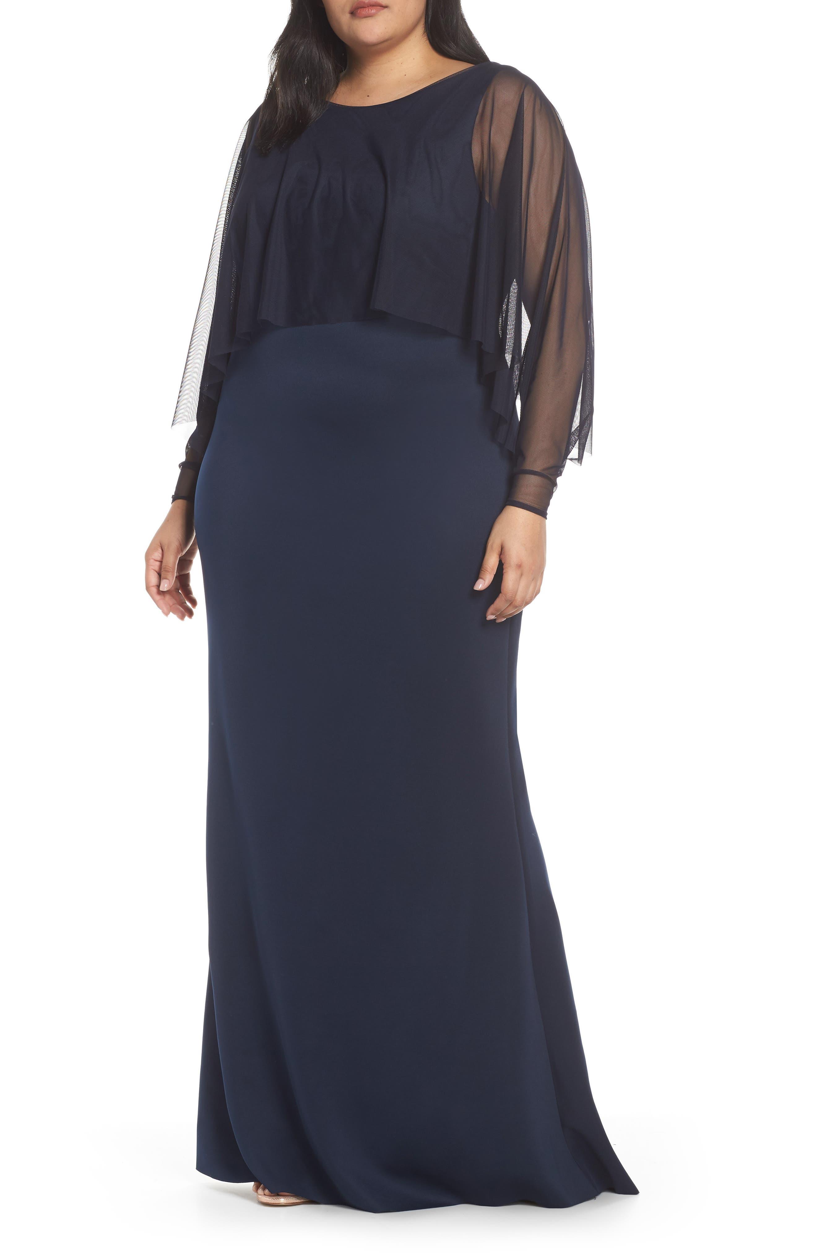 Plus Size Eliza J Mesh Popover Sleeve Scuba Dress, Blue