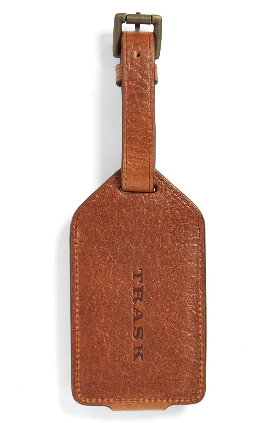 'Jackson' Bison Leather Luggage Tag,                             Alternate thumbnail 2, color,                             220