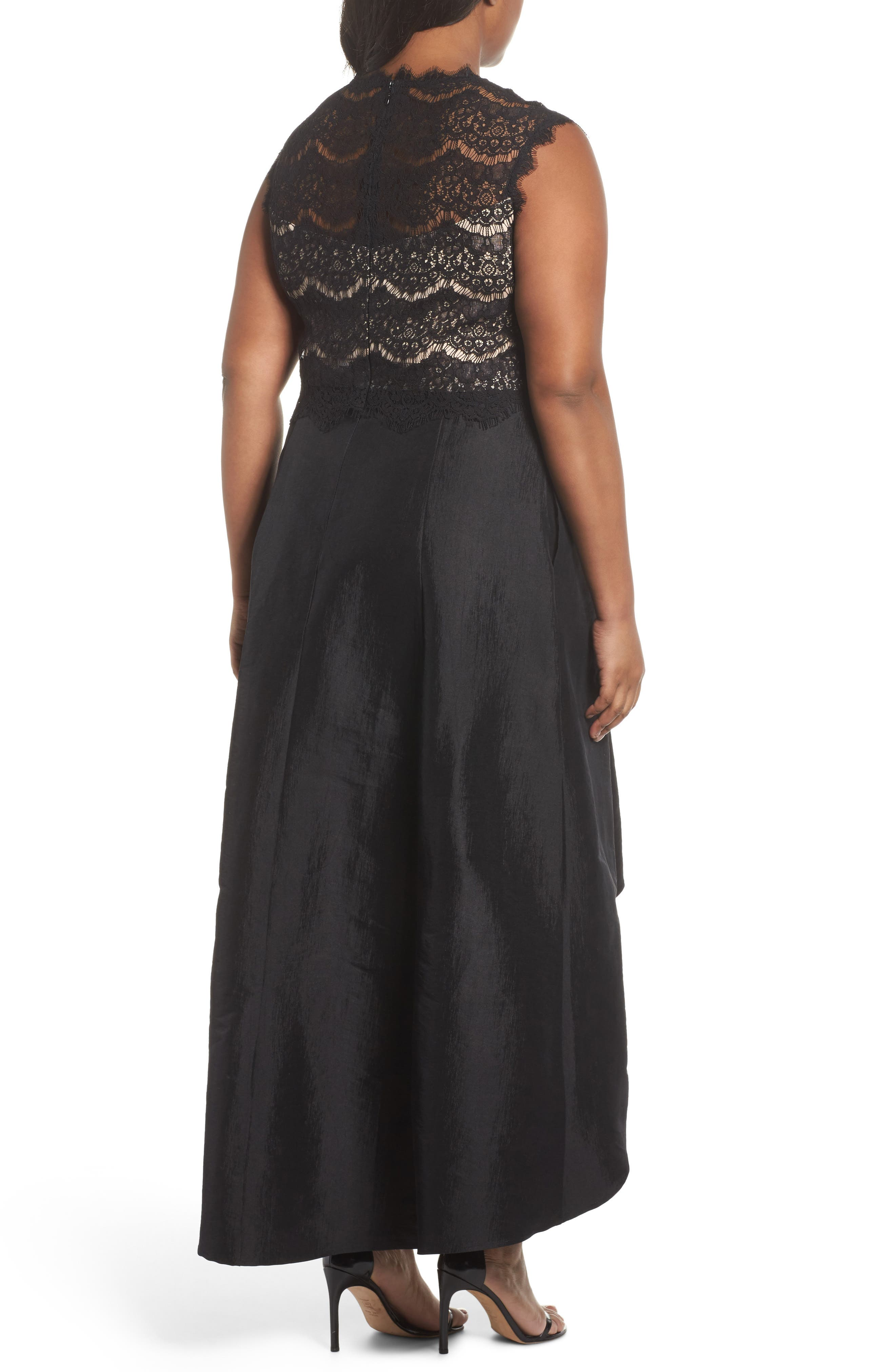Lace & Taffeta Gown,                             Alternate thumbnail 2, color,                             003