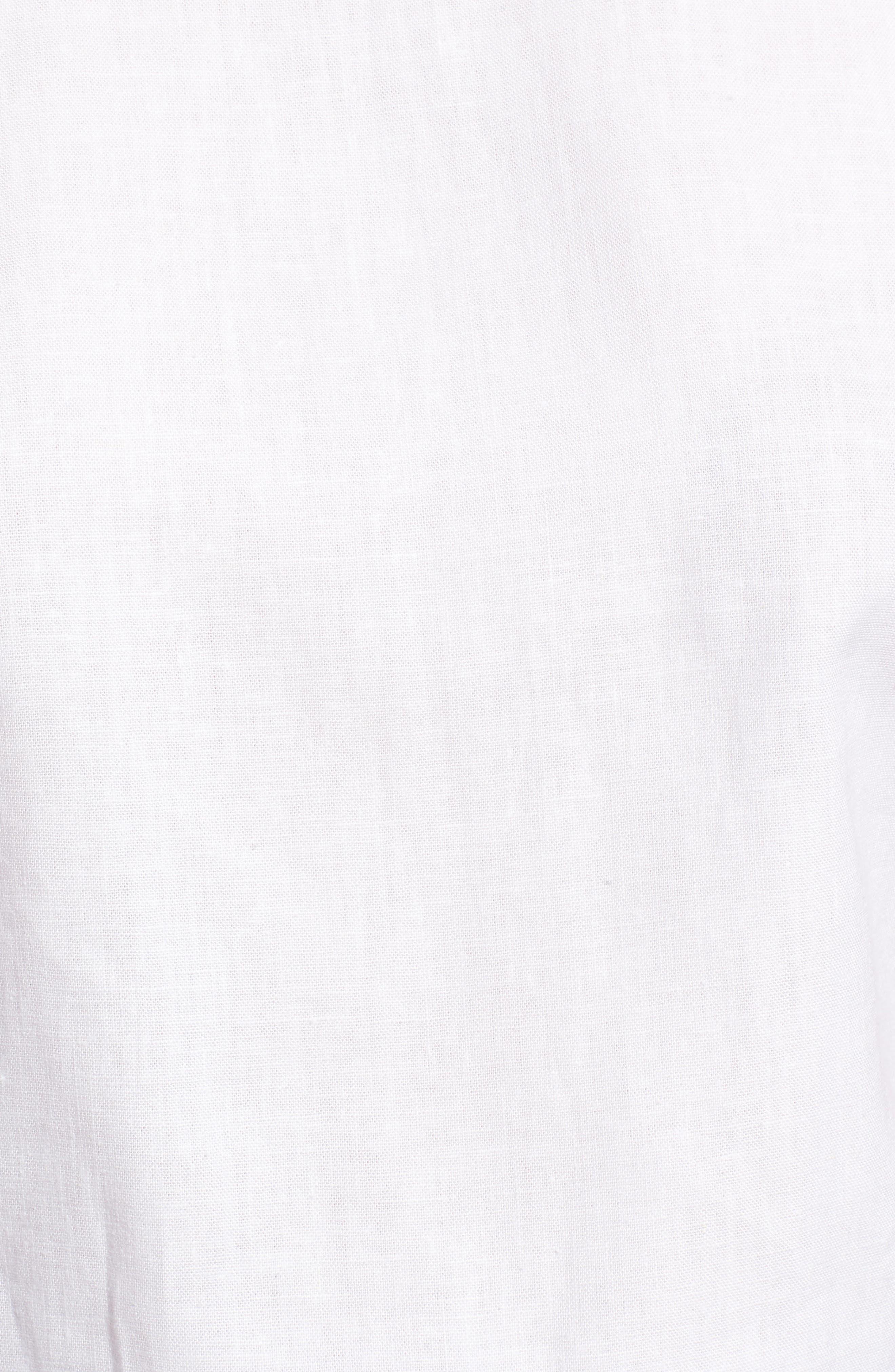 Ruffle Neck Linen Blend Sleeveless Blouse,                             Alternate thumbnail 5, color,                             100
