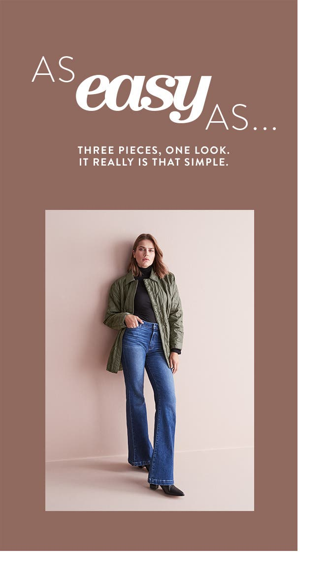 Model in turtleneck, high-waisted flare jeans and quilted jacket.