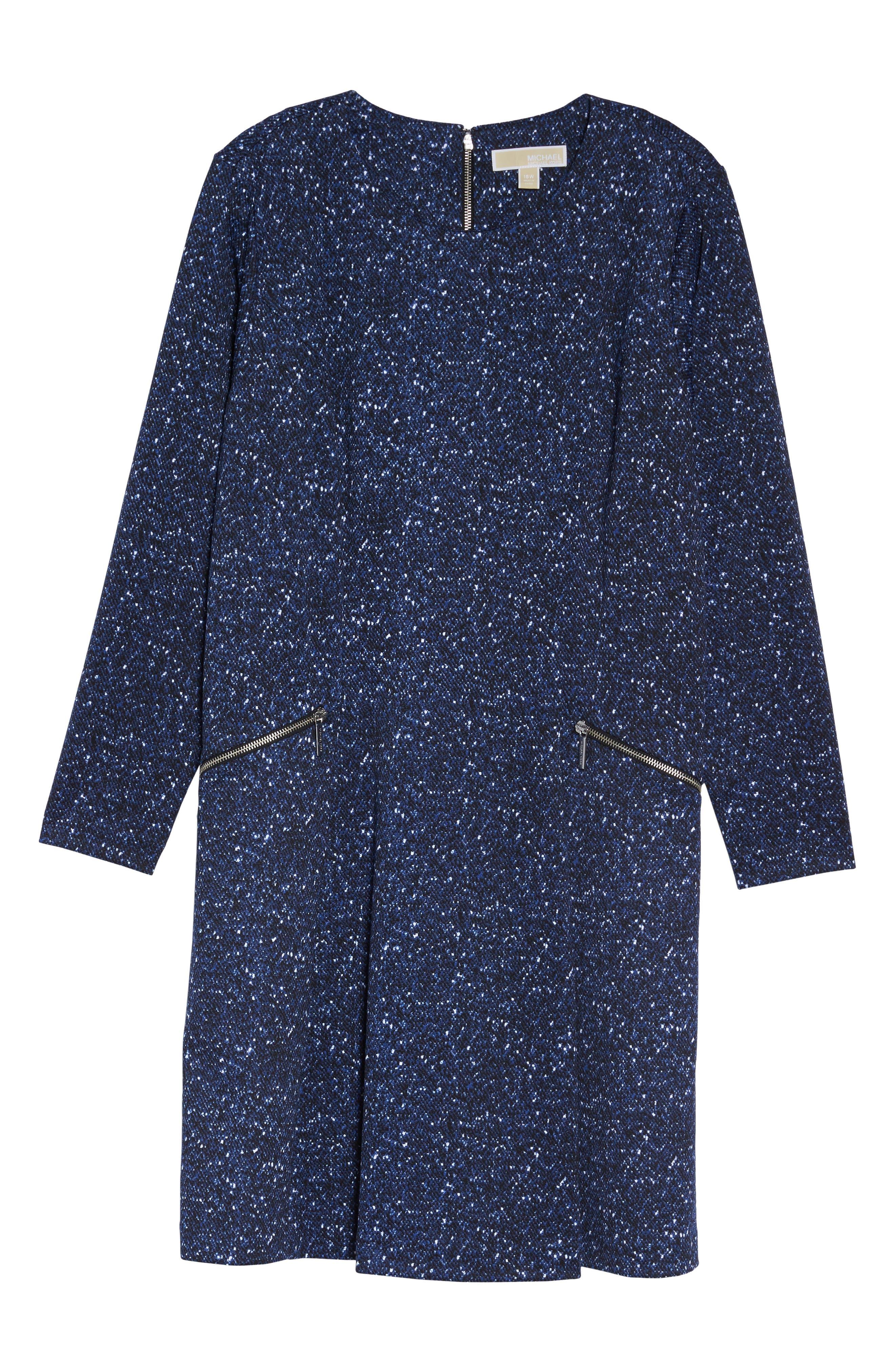 Tweed Print A-Line Dress,                             Alternate thumbnail 6, color,                             403